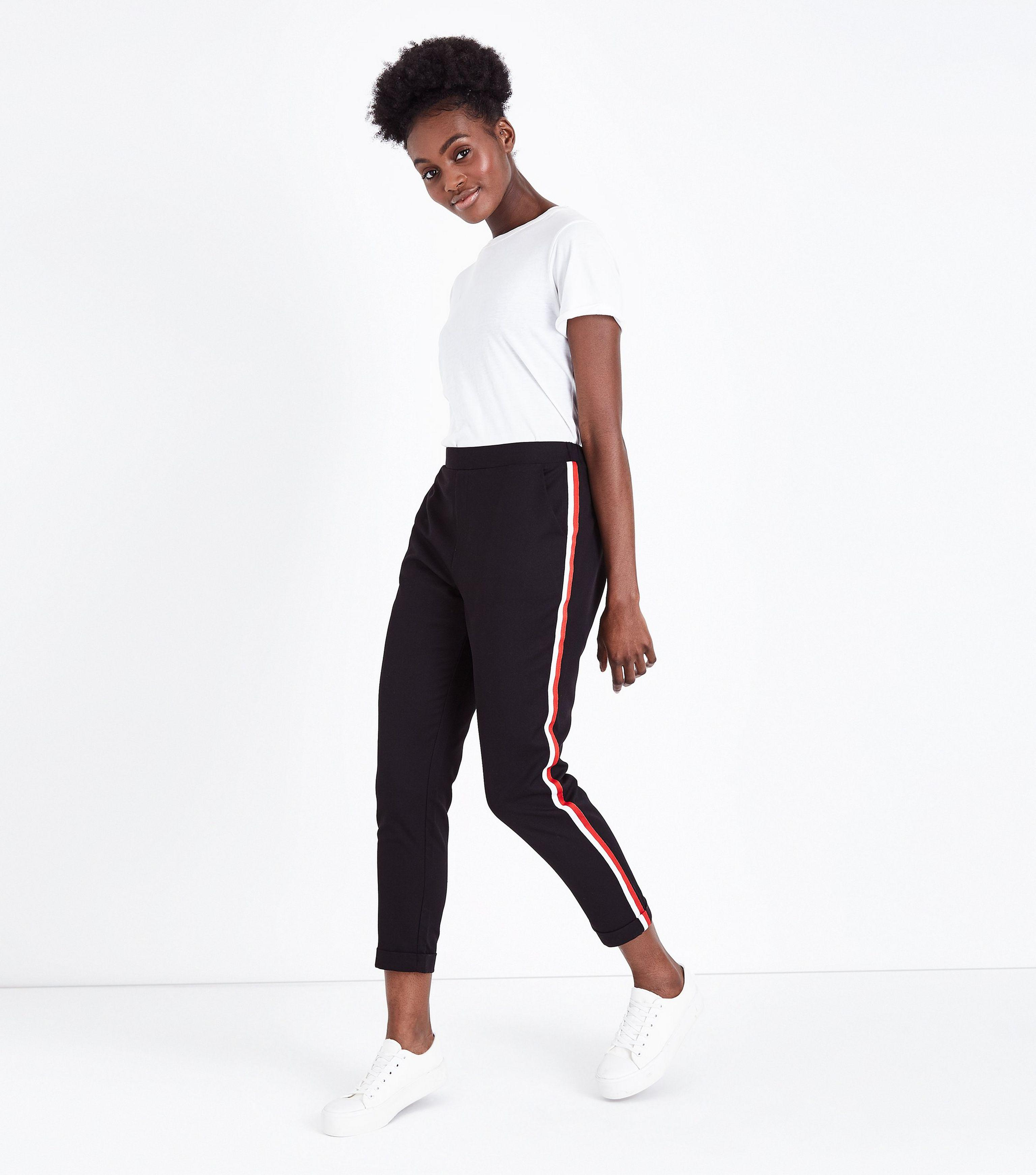 In Side Lyst Tapered New And Stripe Red Look Trousers Black 6Wgqfgw14