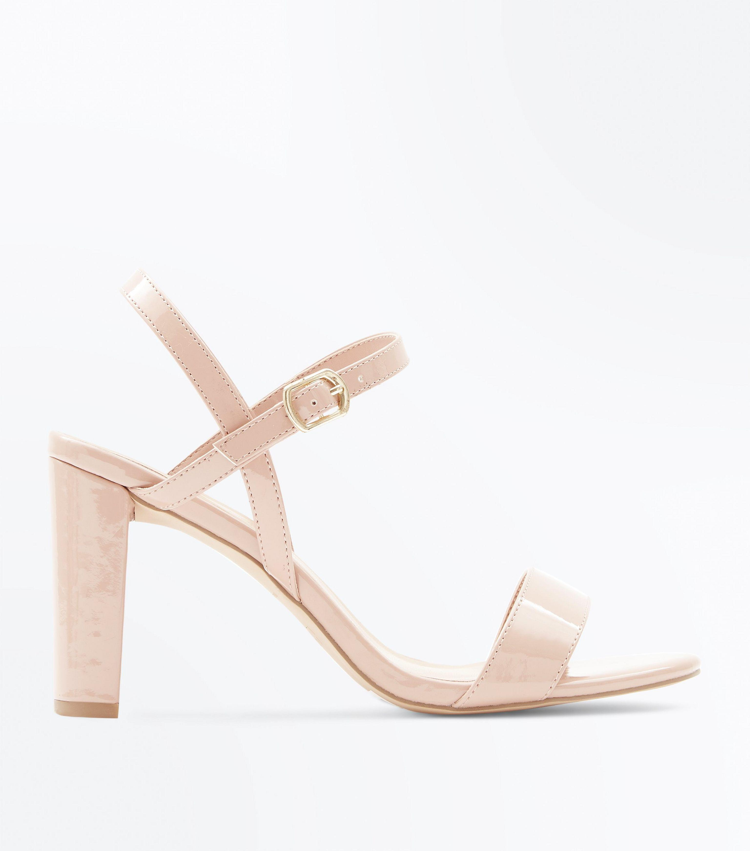 e2a06b847d3 New Look Wide Fit Nude Patent Block Heel Sandals in Natural - Lyst
