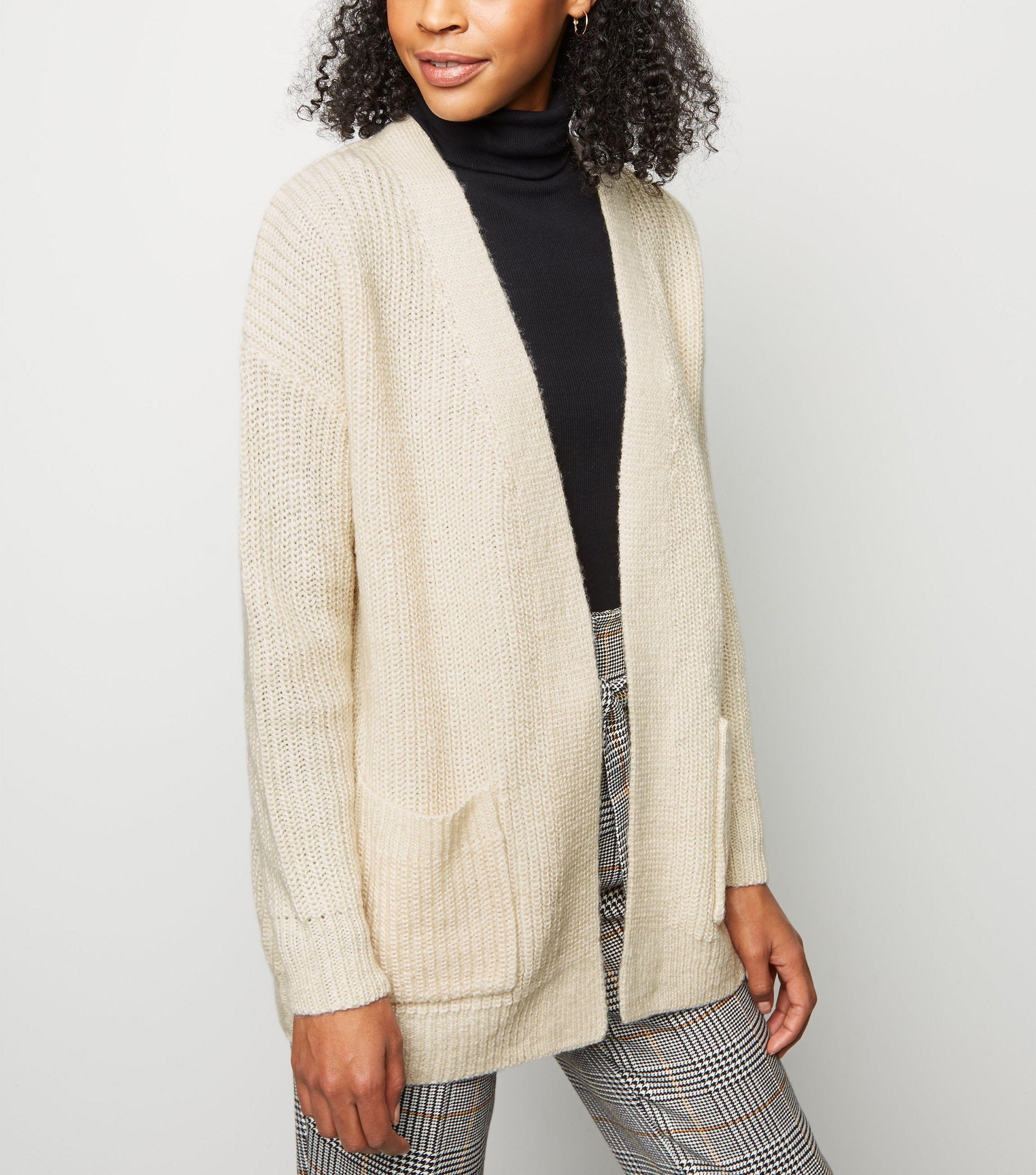 In Cardigan Knit Natural Oversized Cream New Lyst Look qXwR11U