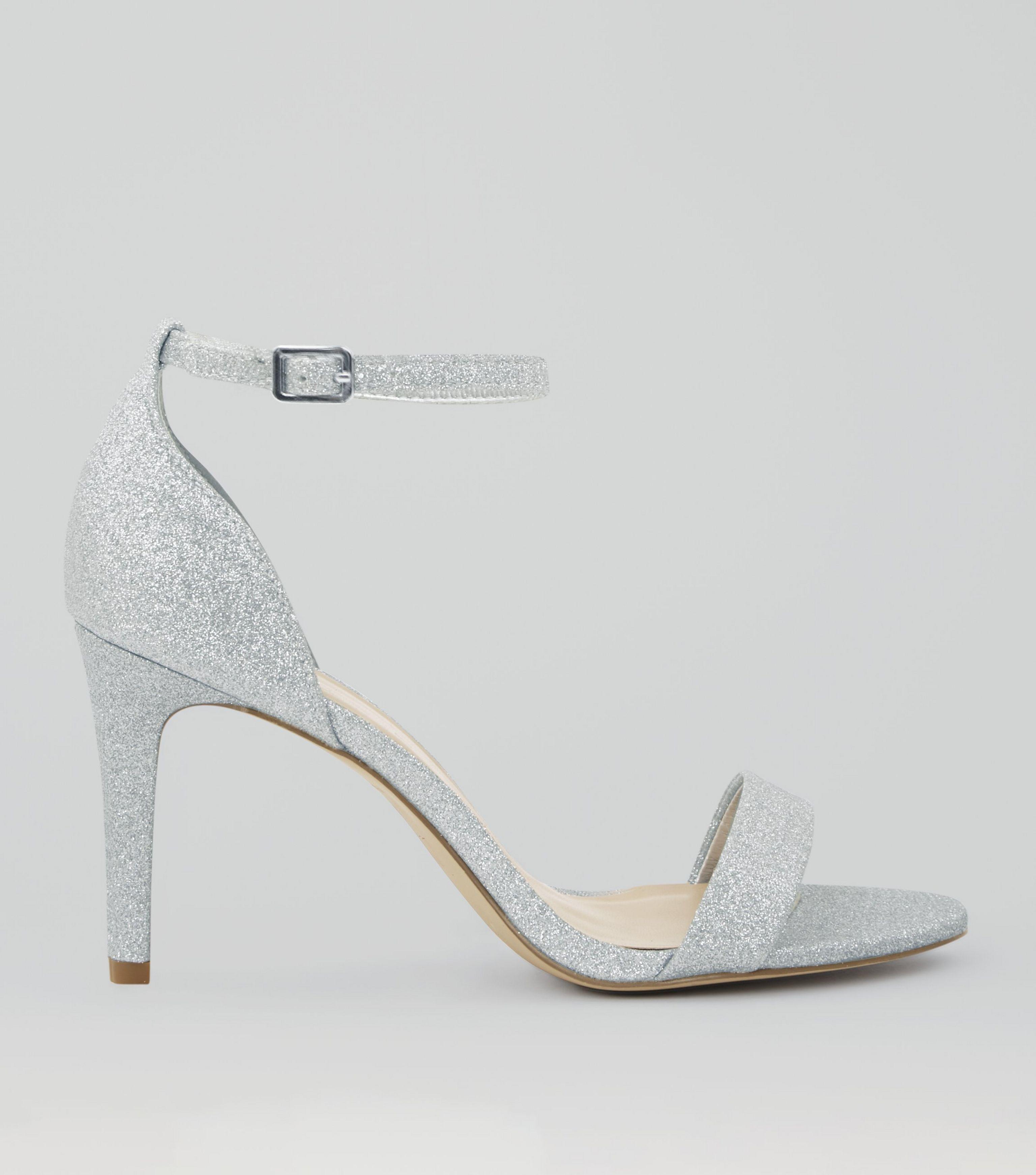 d8fd743ec5ea New Look Wide Fit Silver Glitter Ankle Strap Heels in Metallic - Lyst