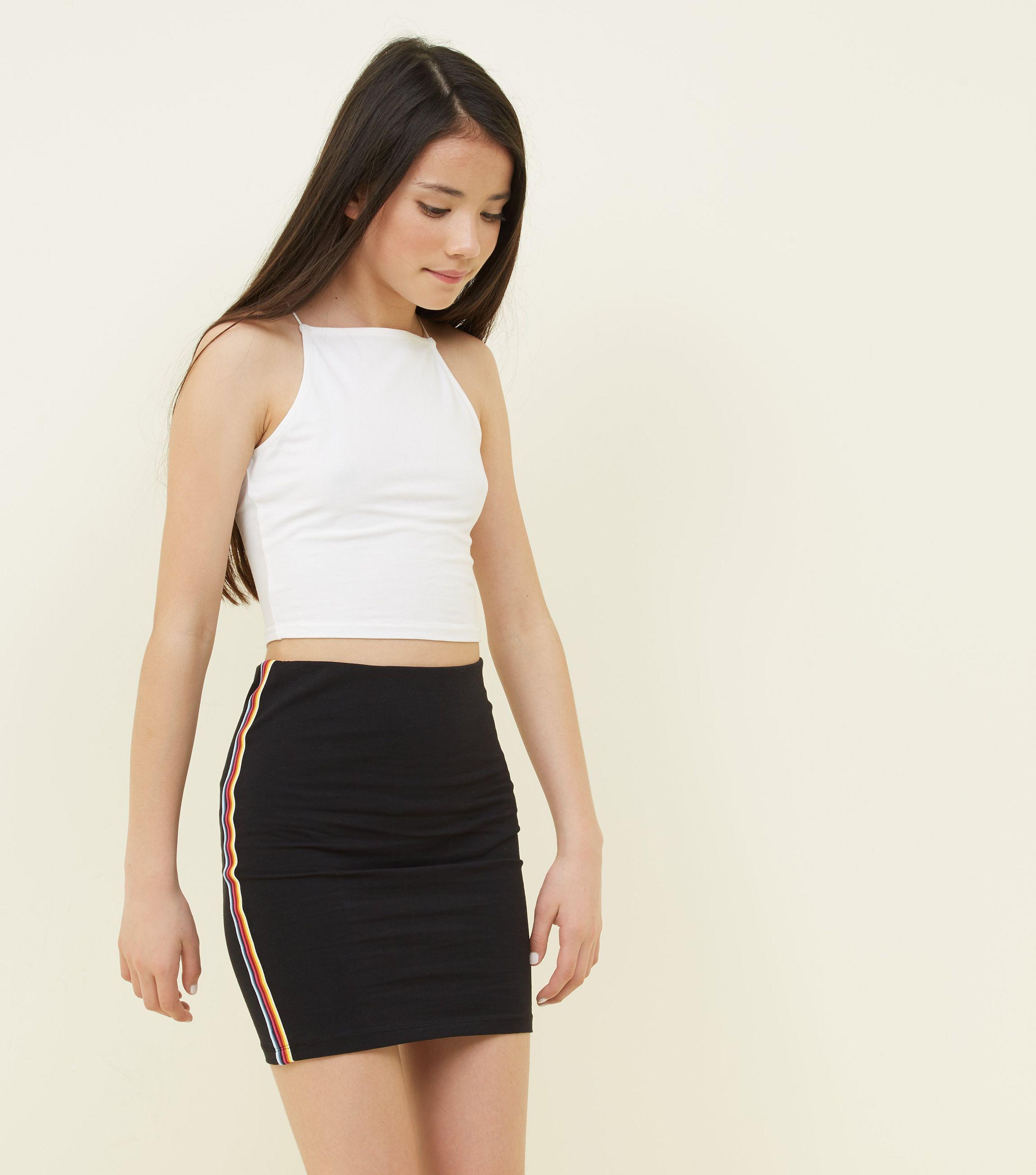 7a1507b7832c New Look Girls Black Rainbow Side Stripe Tube Skirt in Black - Lyst