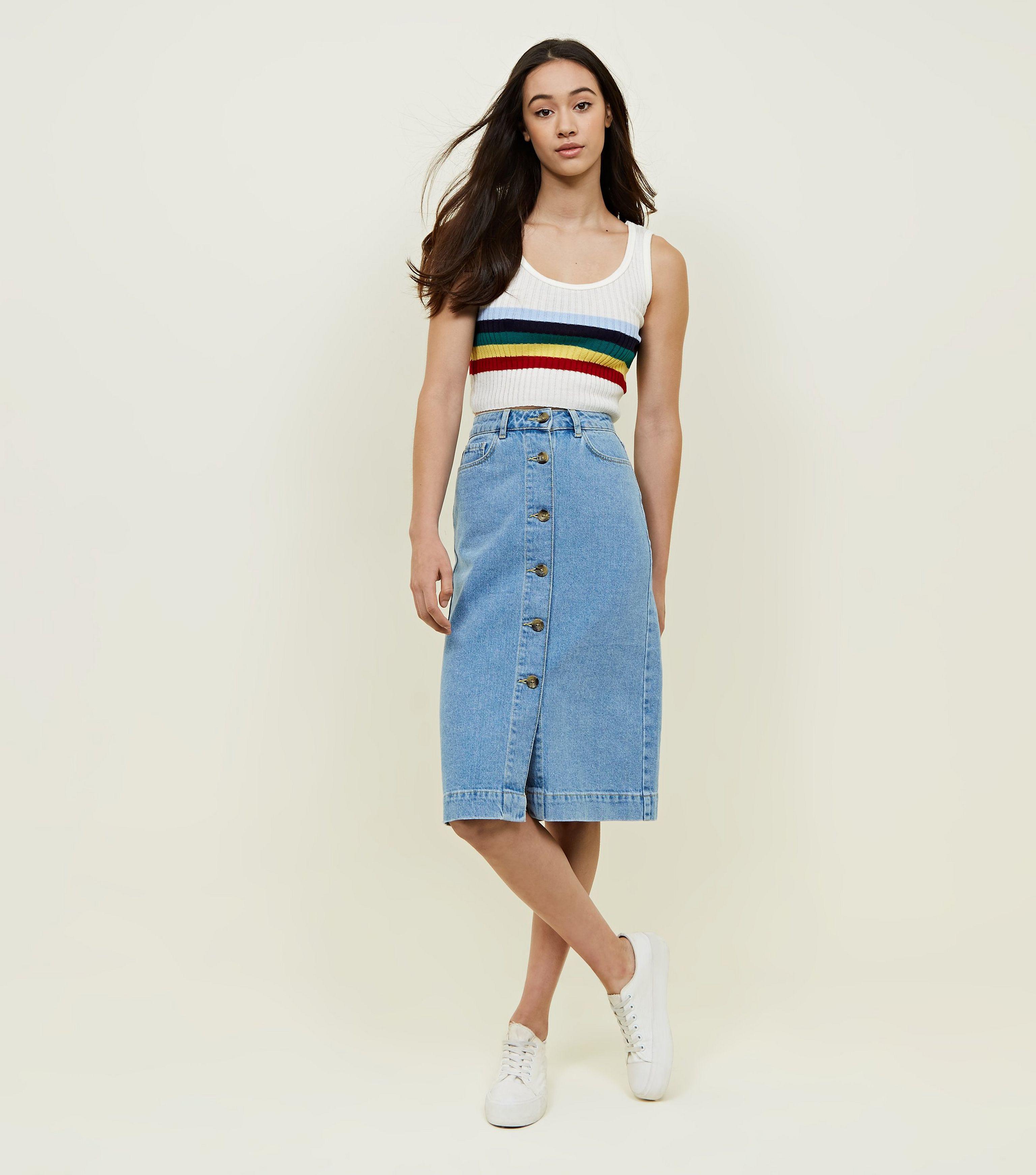 ac83d6757 Button Denim Midi Skirt