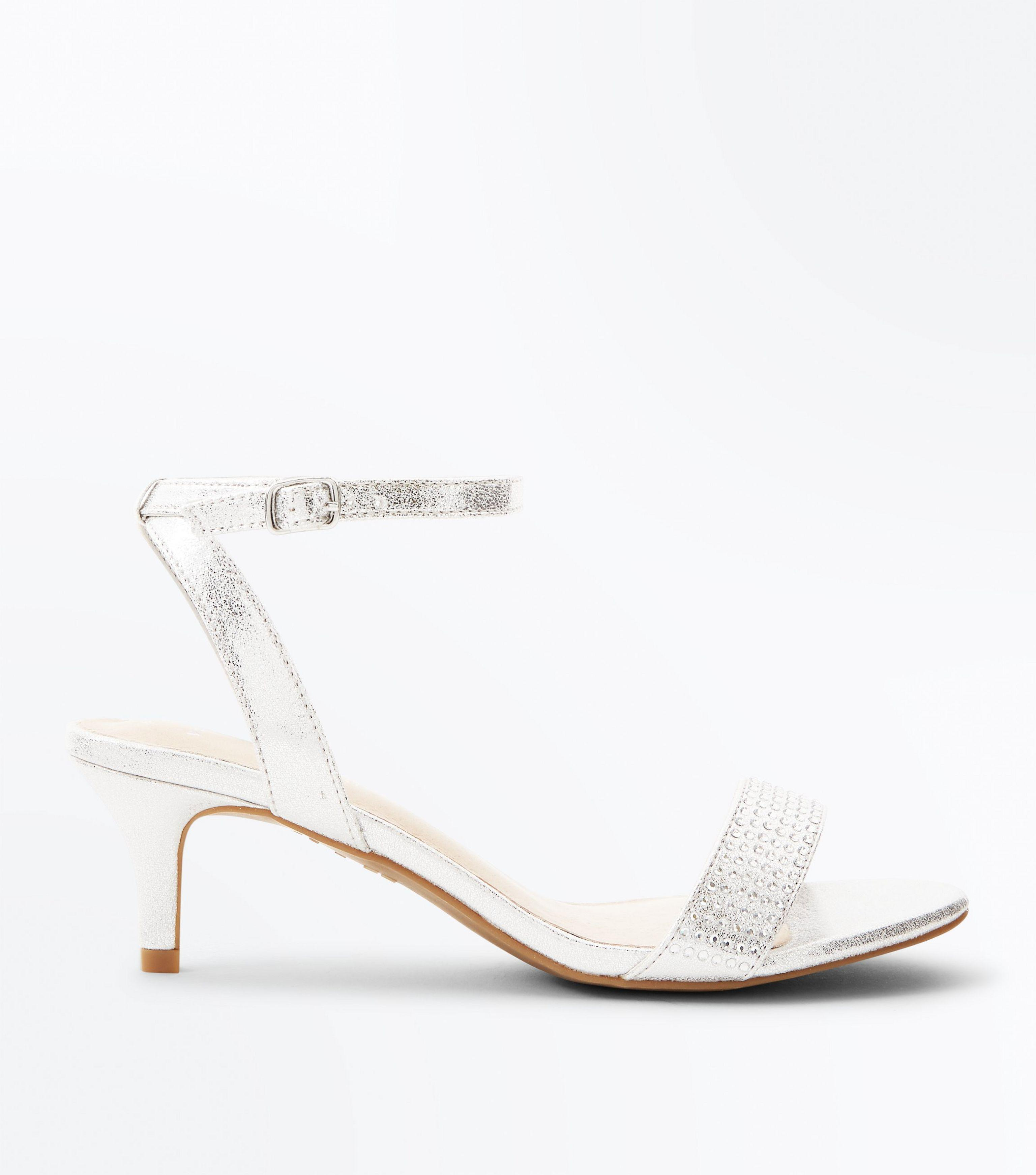 fd1214d2d1ca New Look Wide Fit Silver Comfort Flex Diamanté Strap Kitten Heels in ...