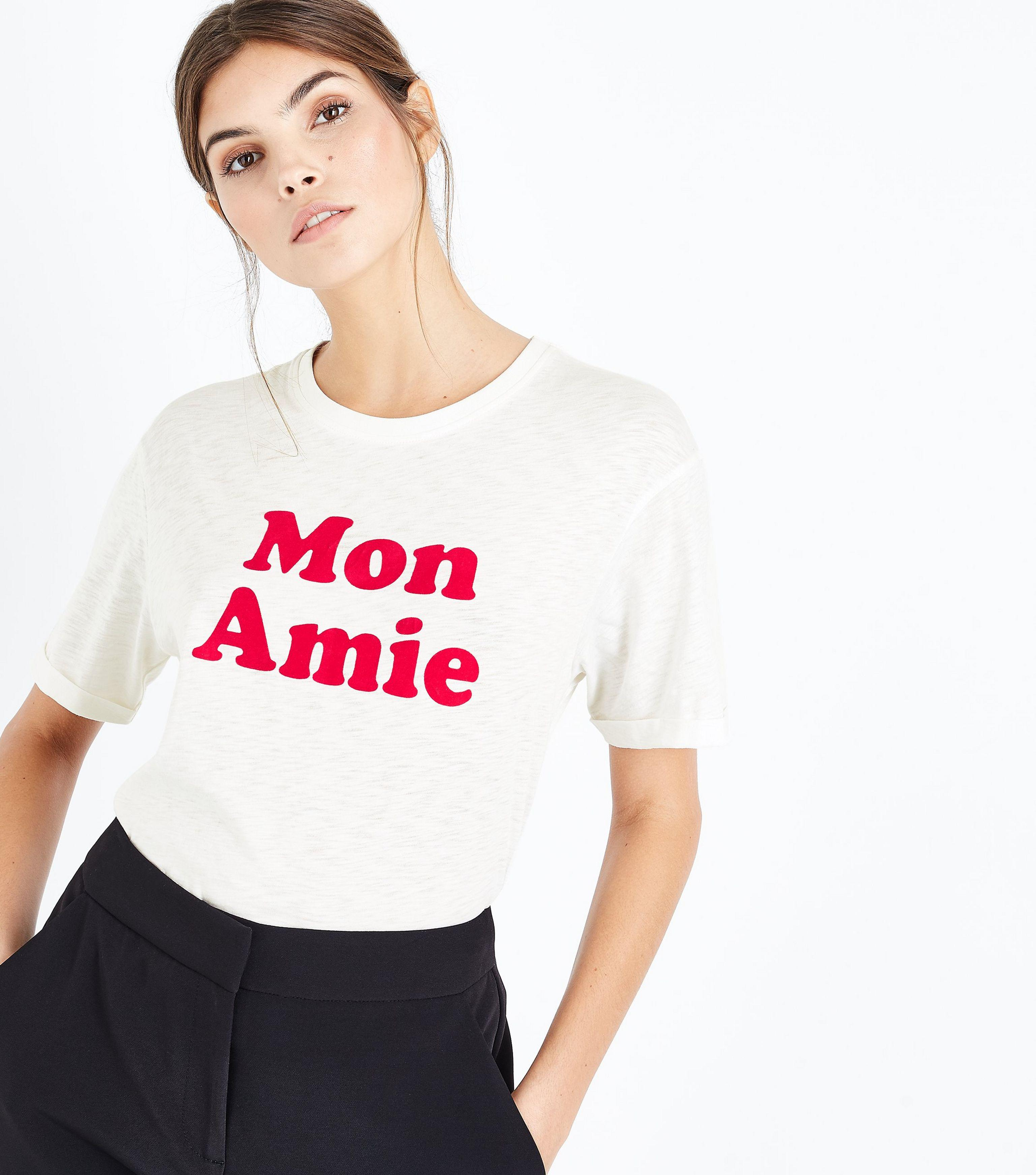 a8fa59c4c New Look Cream Mon Amie Flock Print T-shirt - Lyst