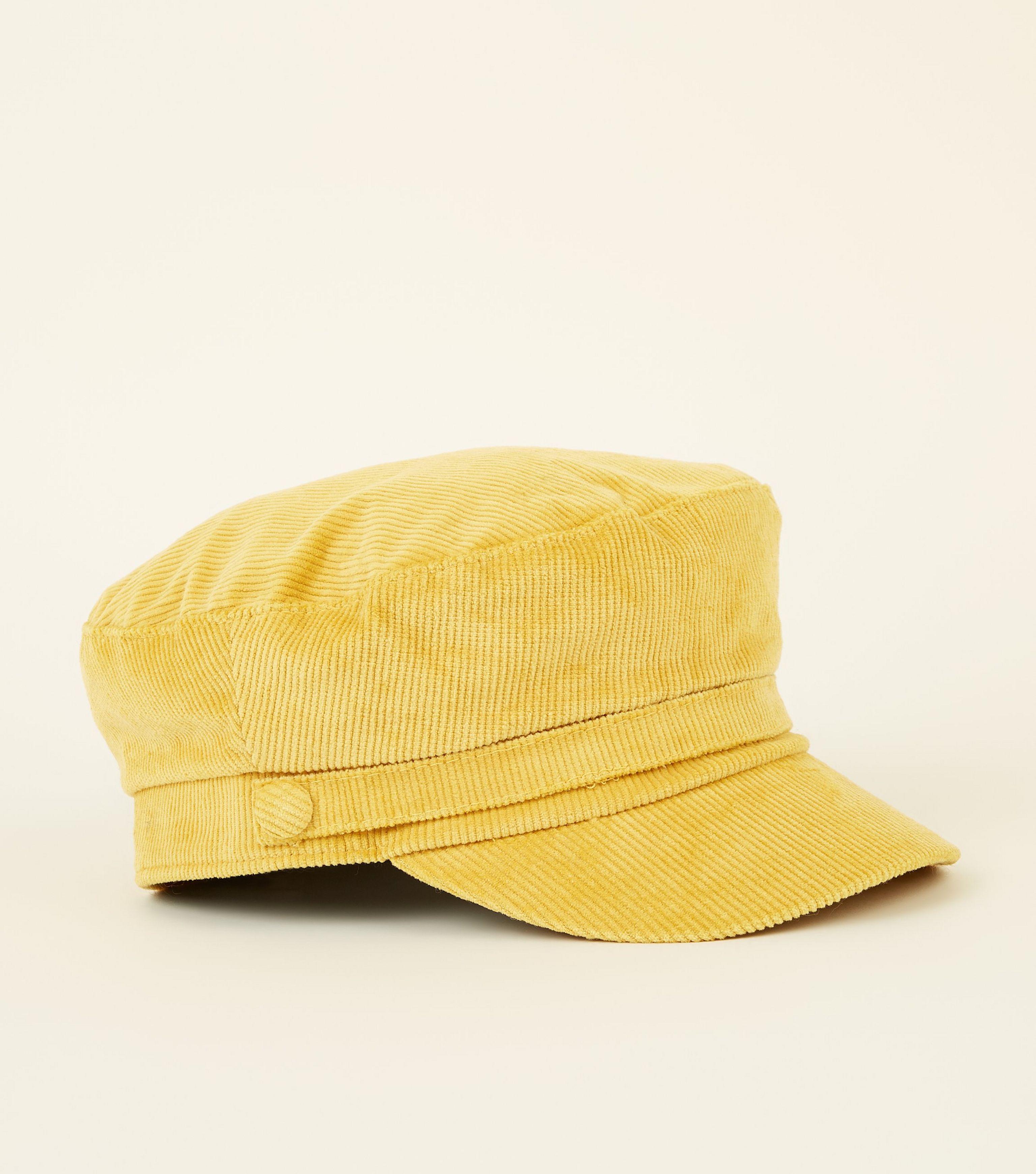 9b7bde54b56f8 New Look Yellow Corduroy Military Baker Boy Cap in Yellow - Lyst