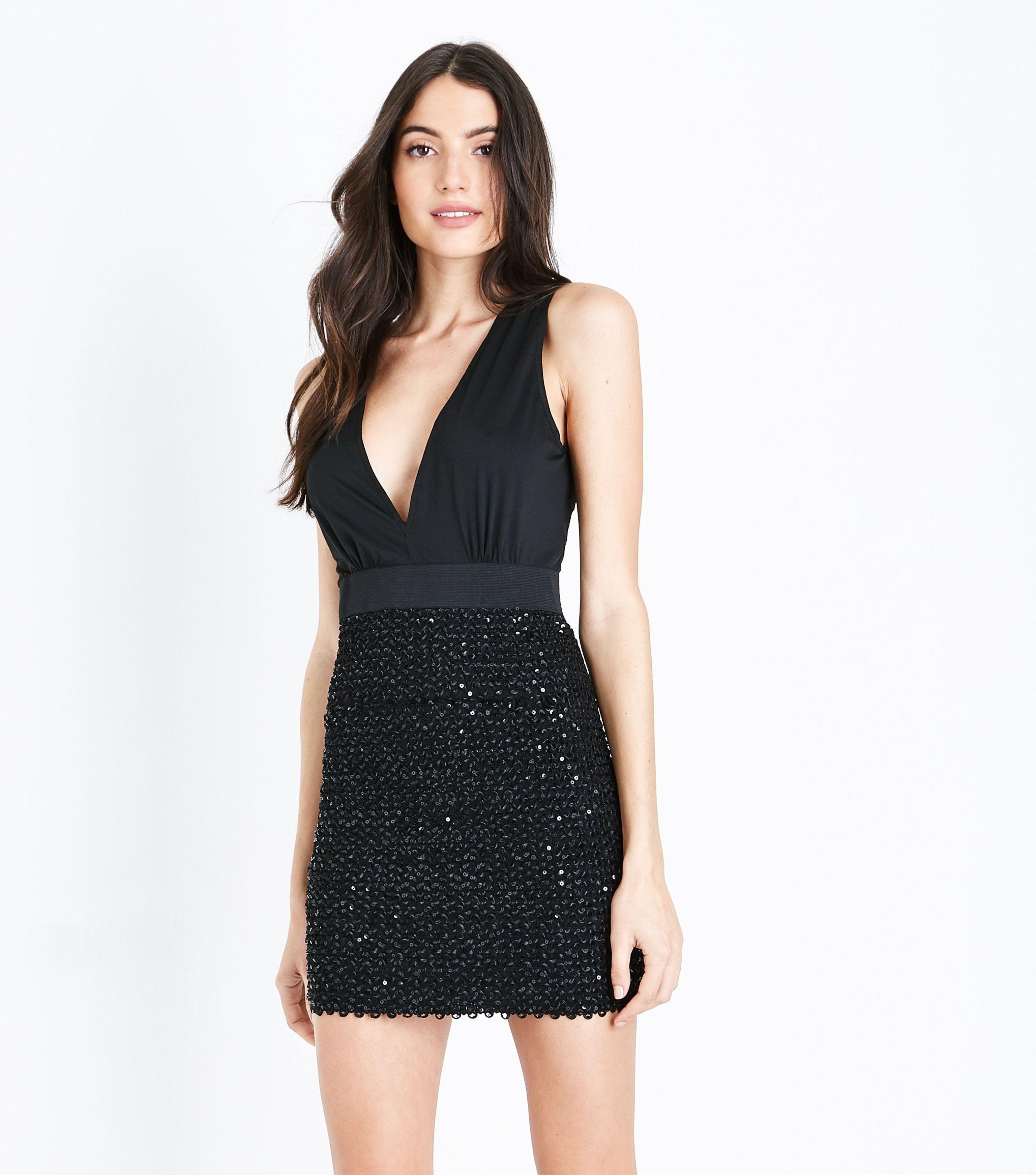 5a5695b1e42 AX Paris Ax Paris Black Sequin Embellished Wrap Front Dress in Black ...