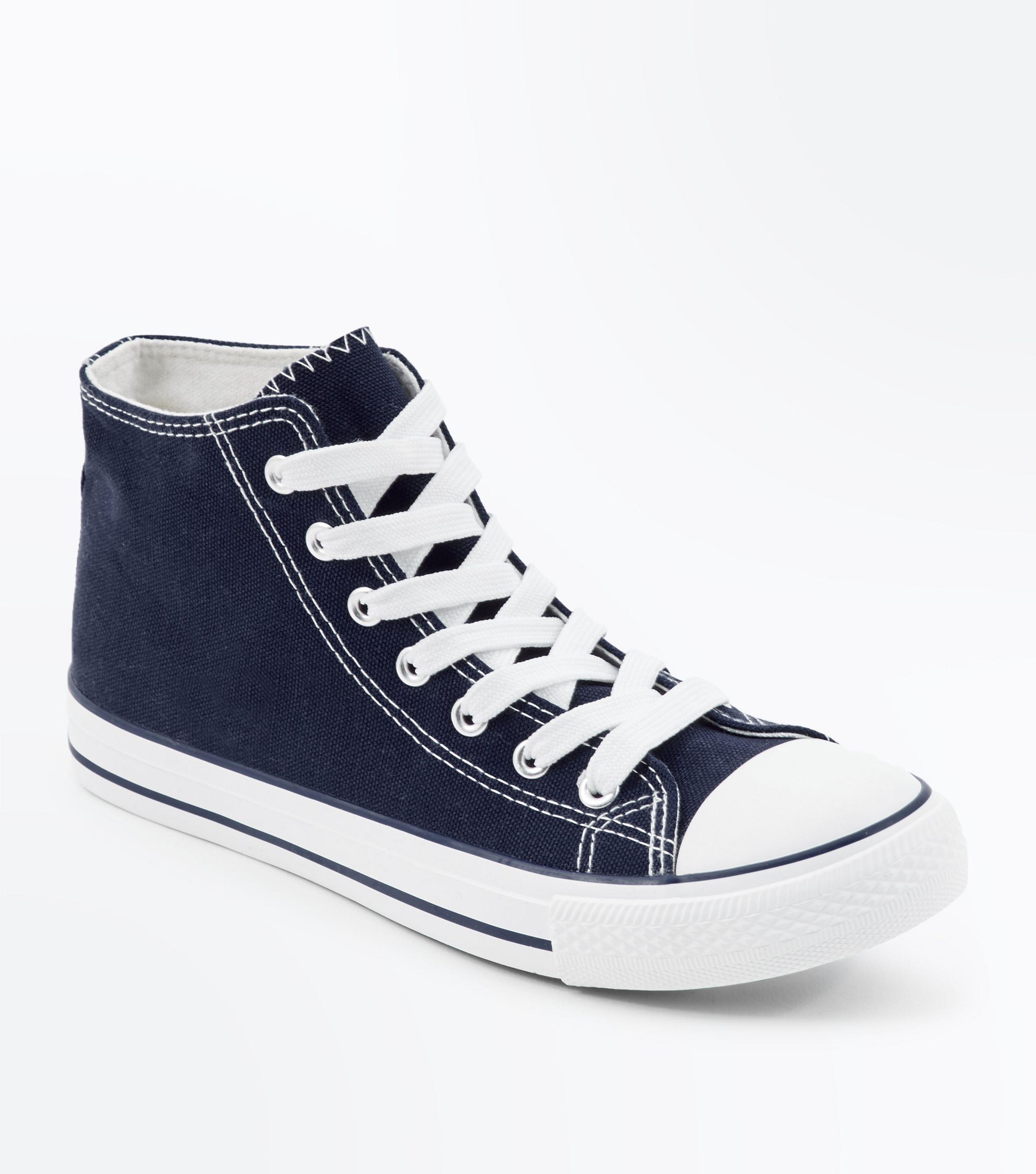 b70809fa4e18 New Look Navy Canvas Stripe Sole High Top Trainers in Blue - Lyst