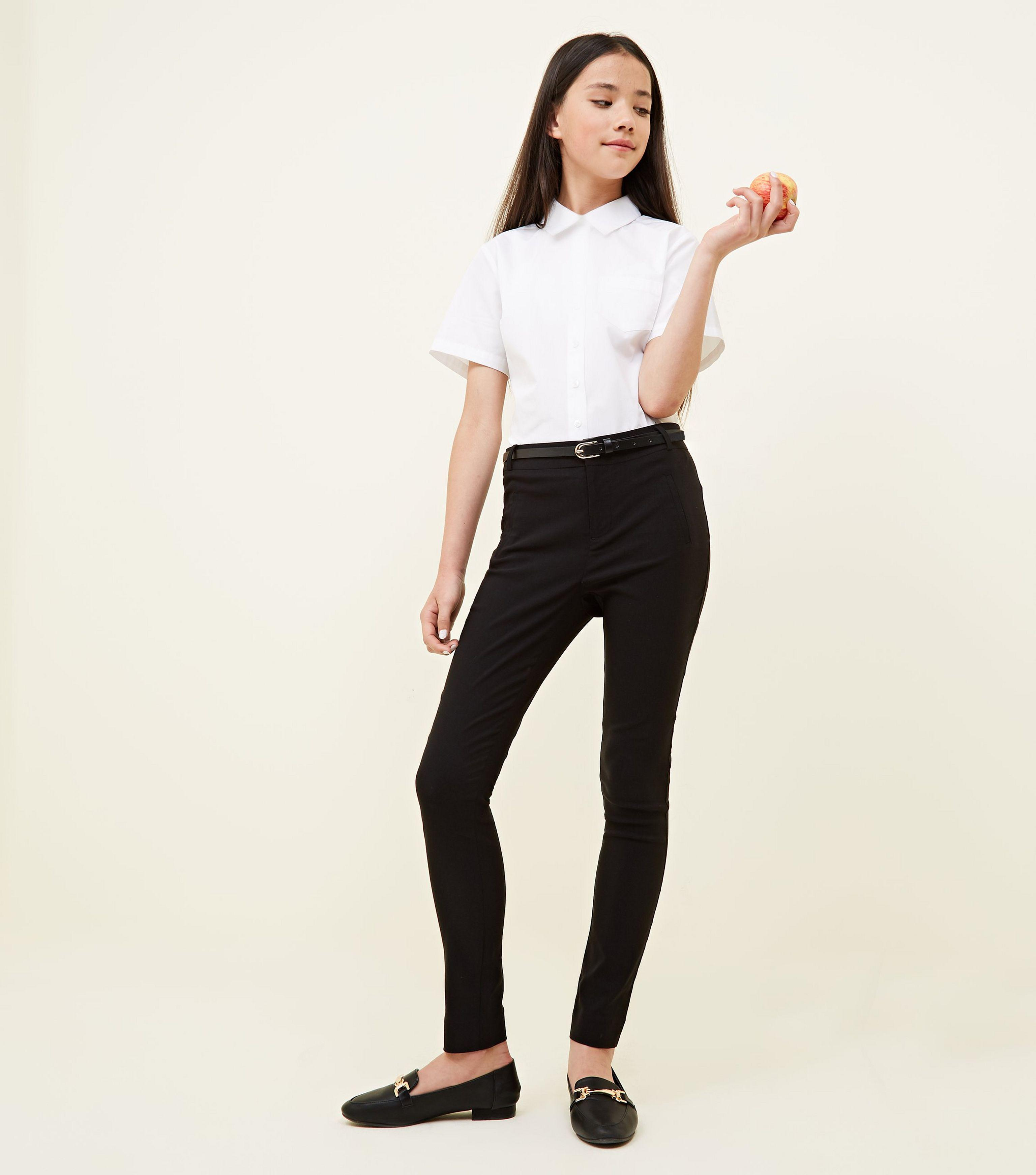 cc9f3b568cdac New Look Girls Black Belted Slim Leg Trousers in Black - Lyst