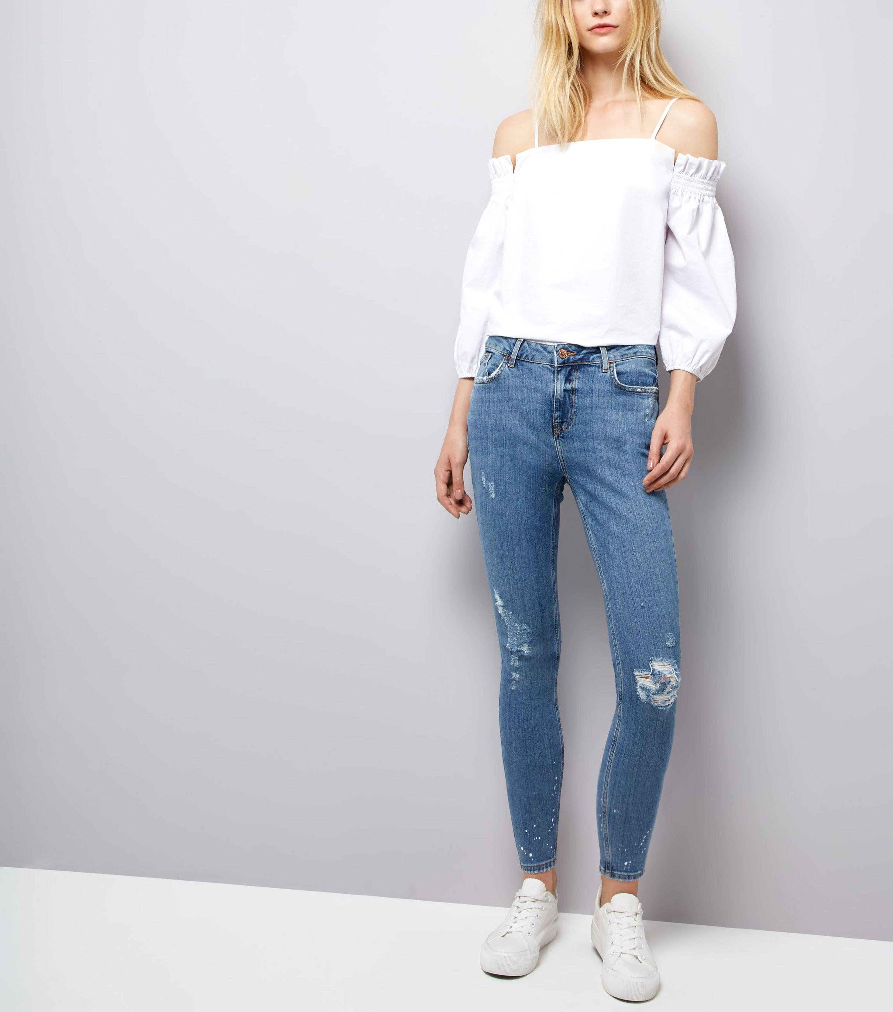 select for clearance top-rated genuine rock-bottom price New Look Denim Blue Ripped Paint Splatter Skinny Jenna Jeans ...