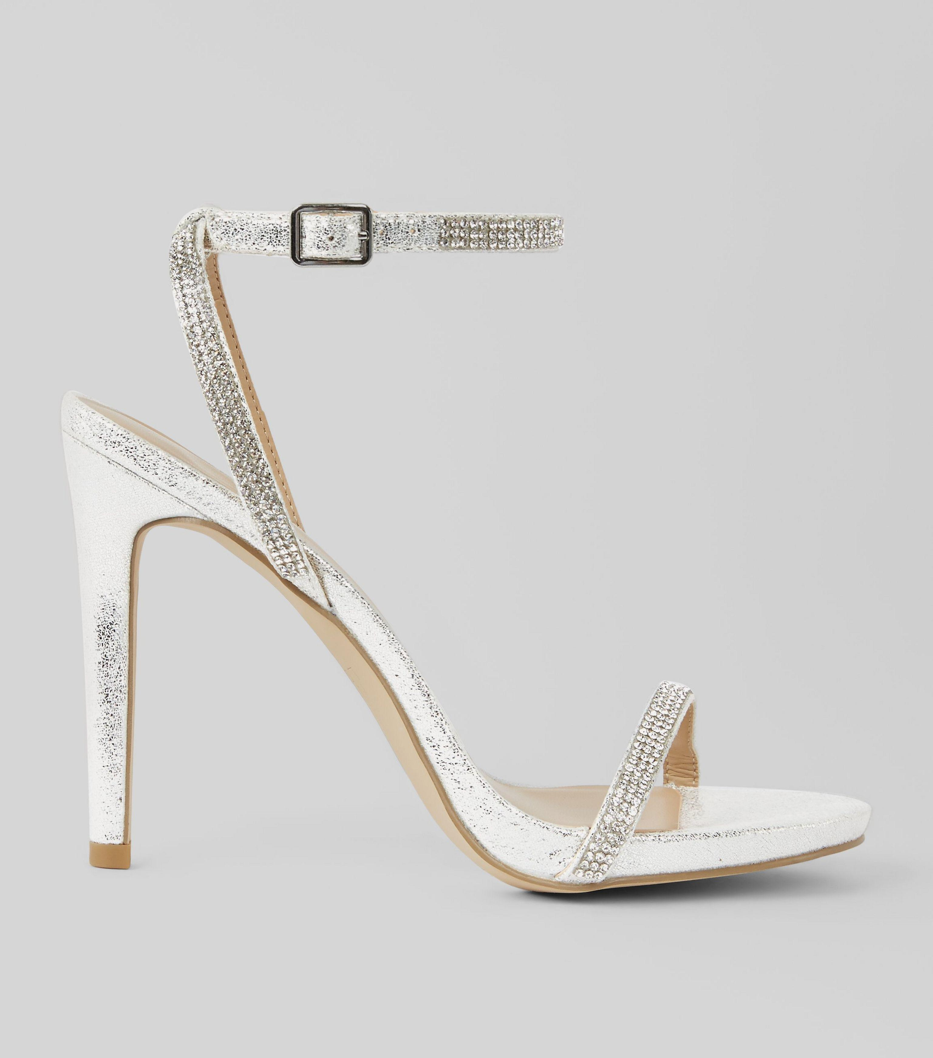 6d239d467f06 New Look Silver Diamante Embellished Heeled Sandals in Metallic - Lyst