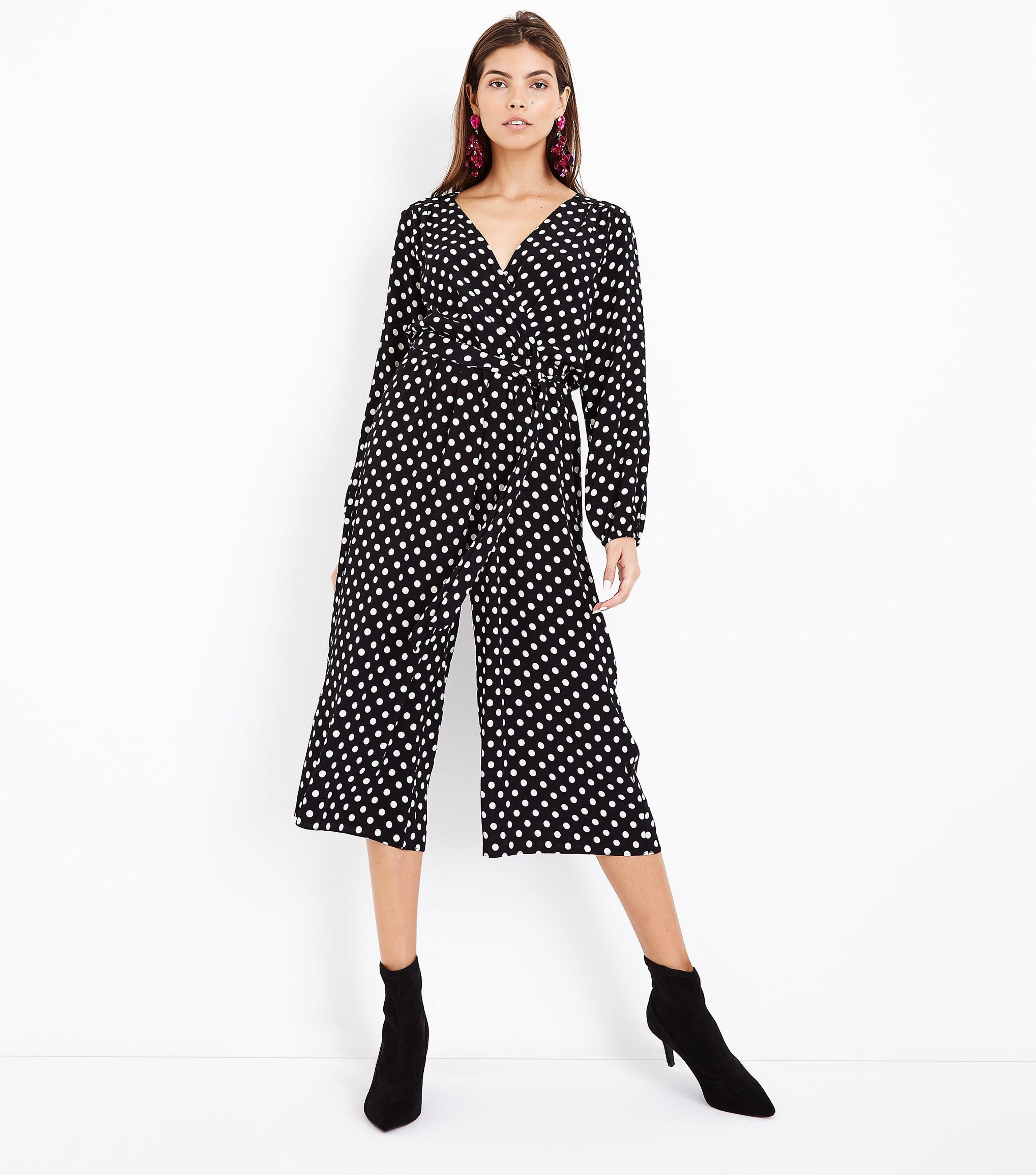 70531aa3974 New Look Black Polka Dot Wrap Front Jumpsuit in Black - Lyst