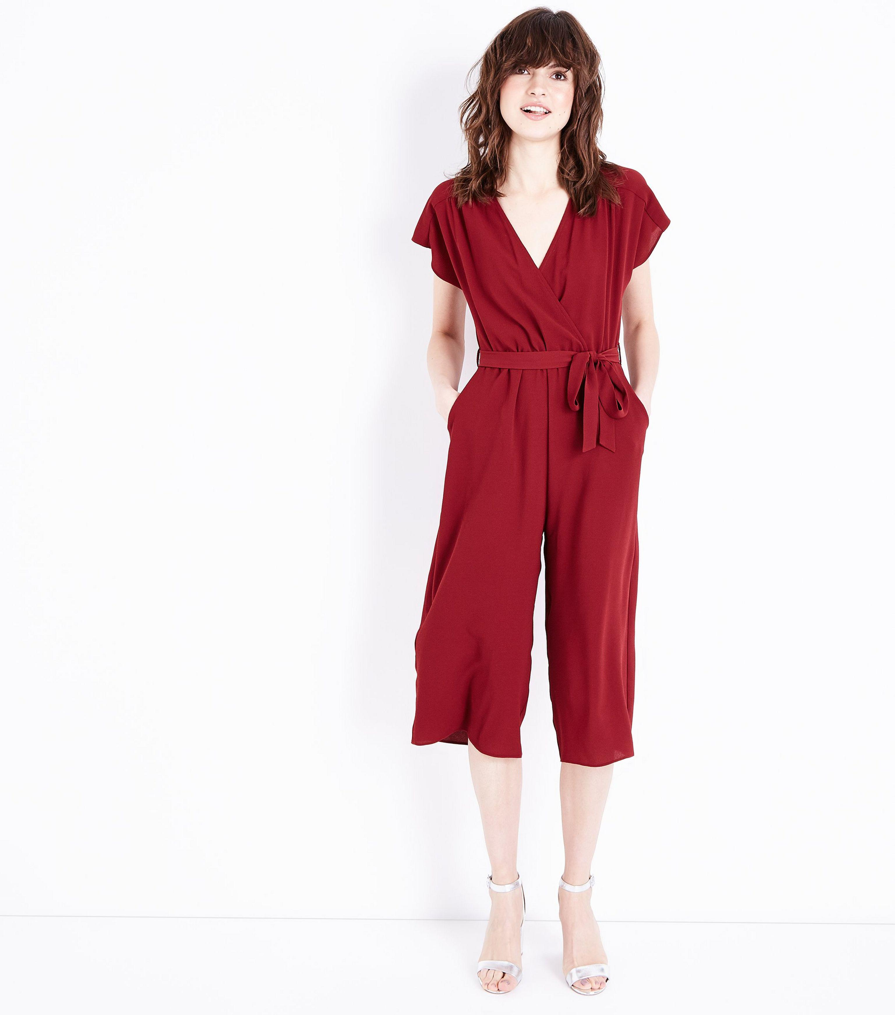 b5d132e8eb New Look Dark Red Wrap Front Culotte Jumpsuit in Red - Lyst