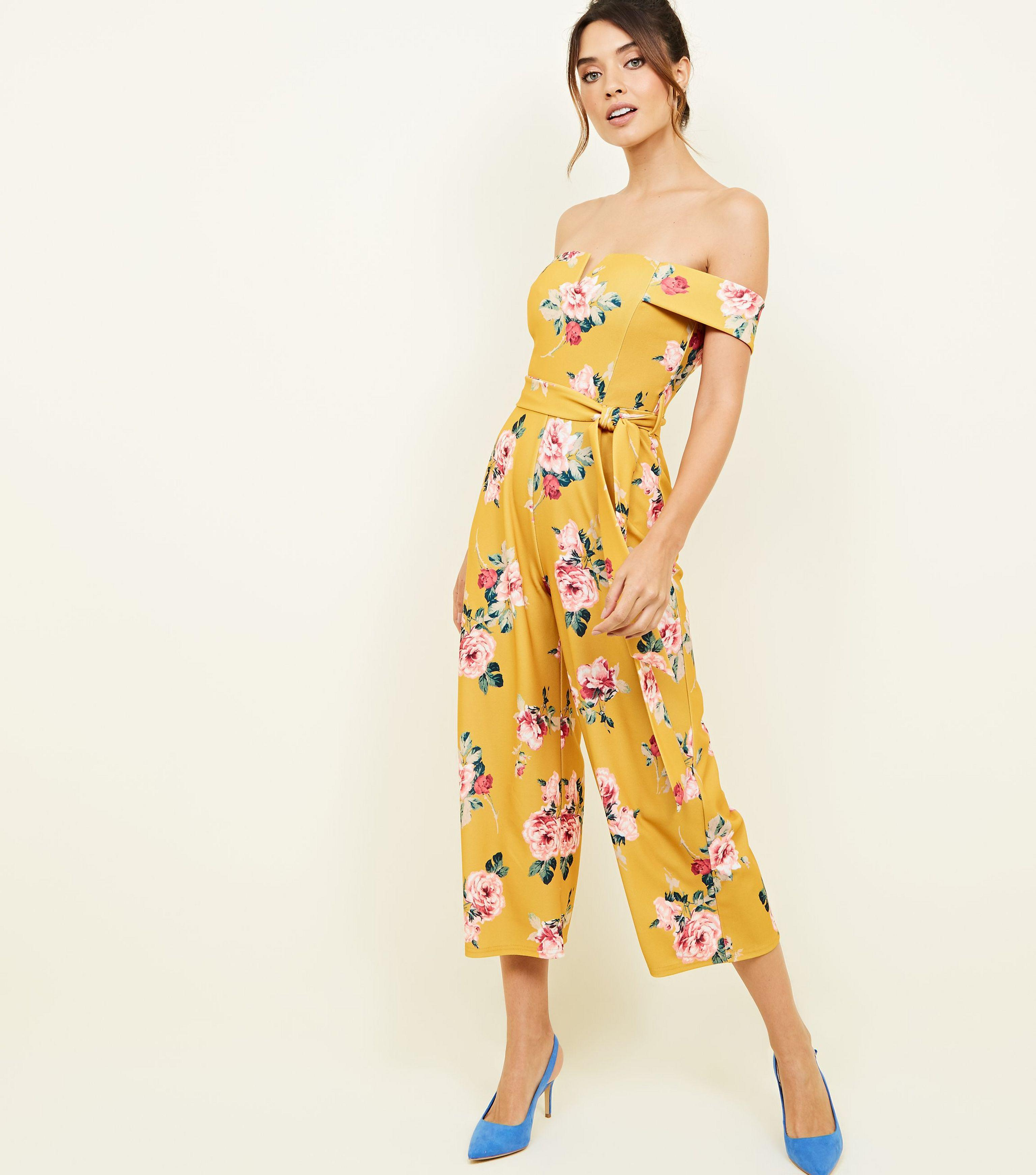 a473d58f4c32 New Look Curves Yellow Floral Bardot Culotte Jumpsuit in Yellow - Lyst