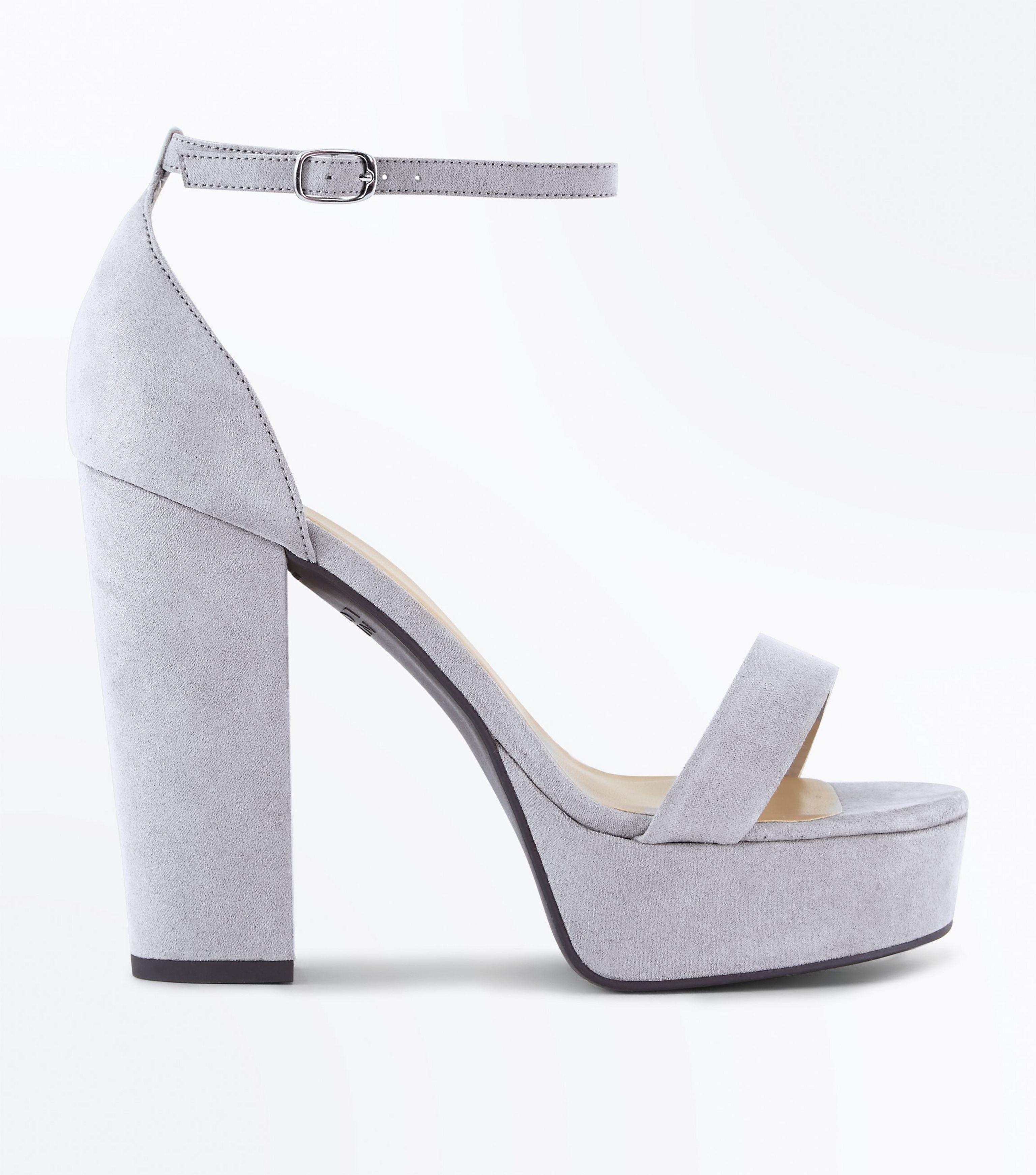990ae065675 New Look Wide Fit Grey Suedette Platform Block Heels in Gray - Lyst