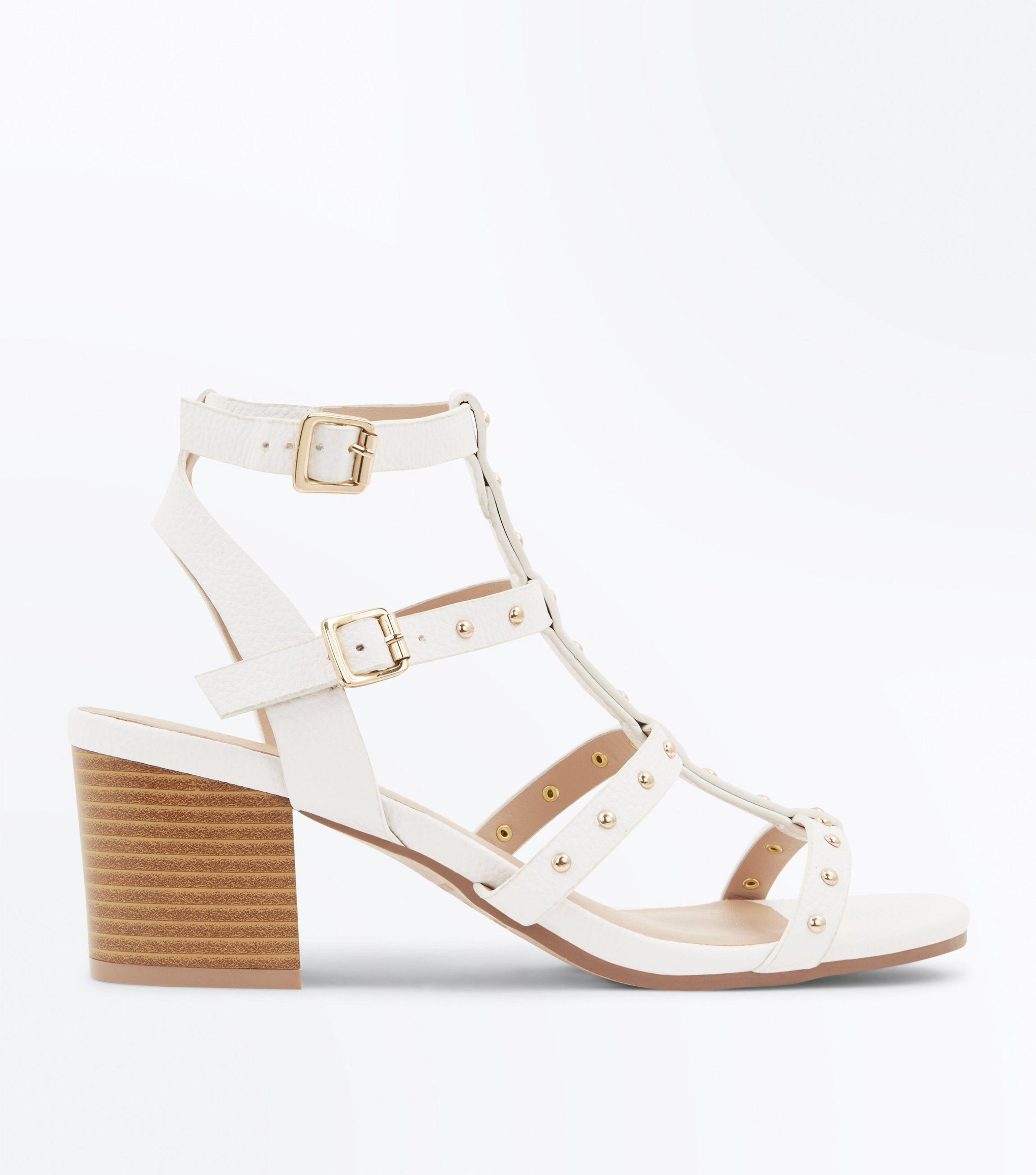 5ae96e0c3d3 New Look White Studded Block Heel Gladiator Sandals in White - Lyst