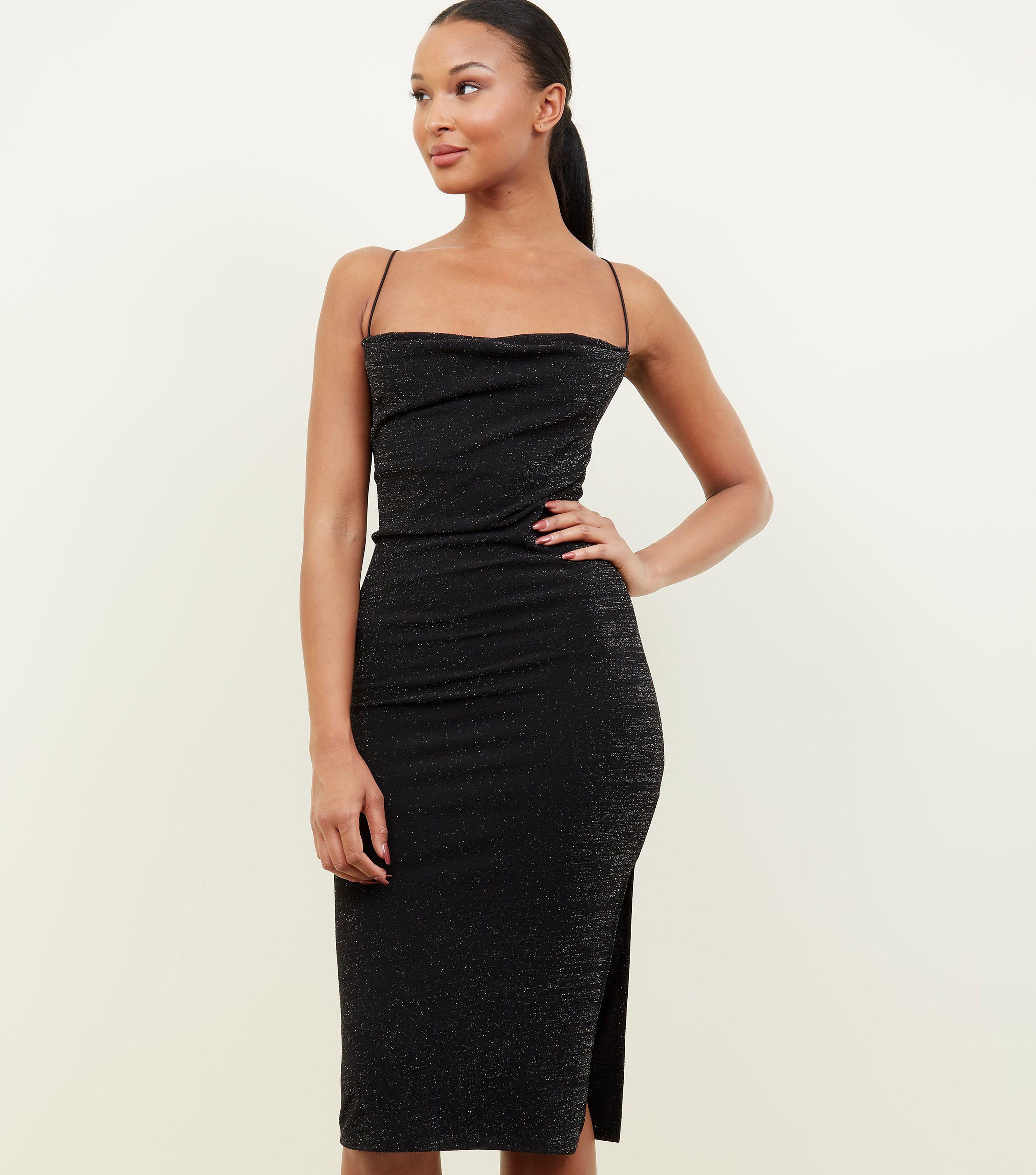 8fc0b8277aa New Look Black Glitter Cowl Neck Midi Dress in Black - Lyst