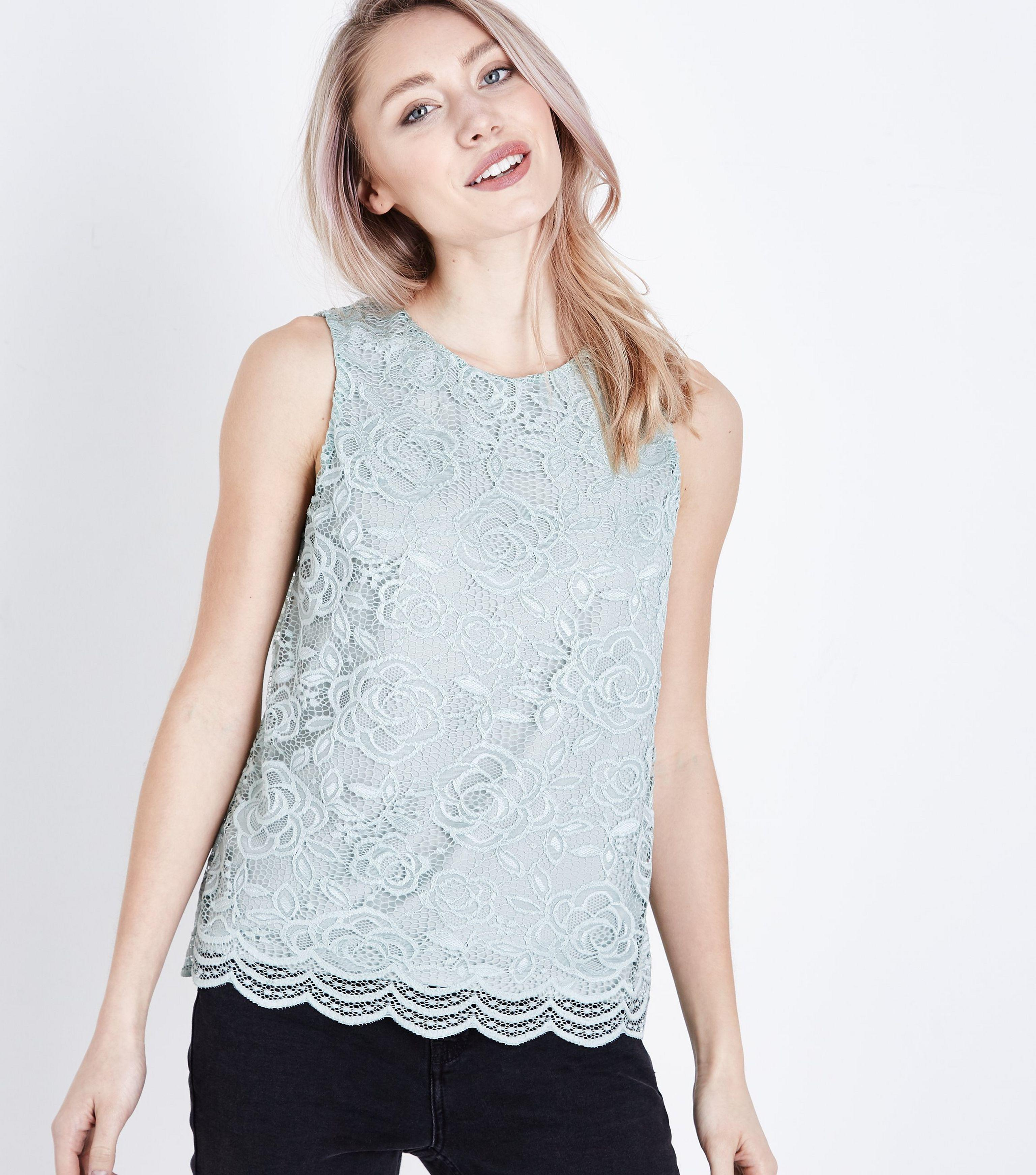 a622923f1ec64 New Look Petite Green Floral Lace Sleeveless Top in Green - Lyst