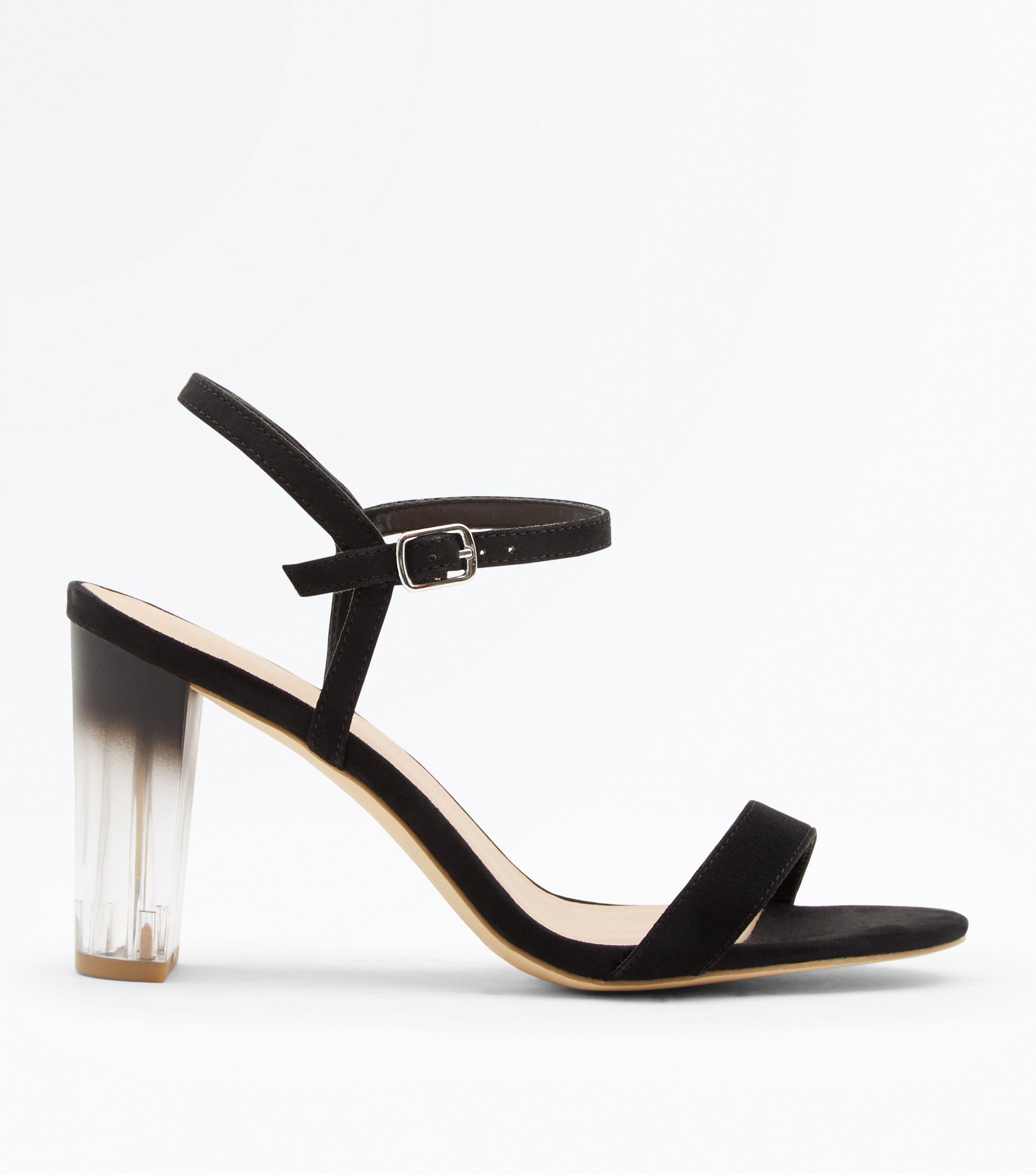 9386de715297 New Look Wide Fit Black Clear Ombre Heel Sandals in Black - Lyst