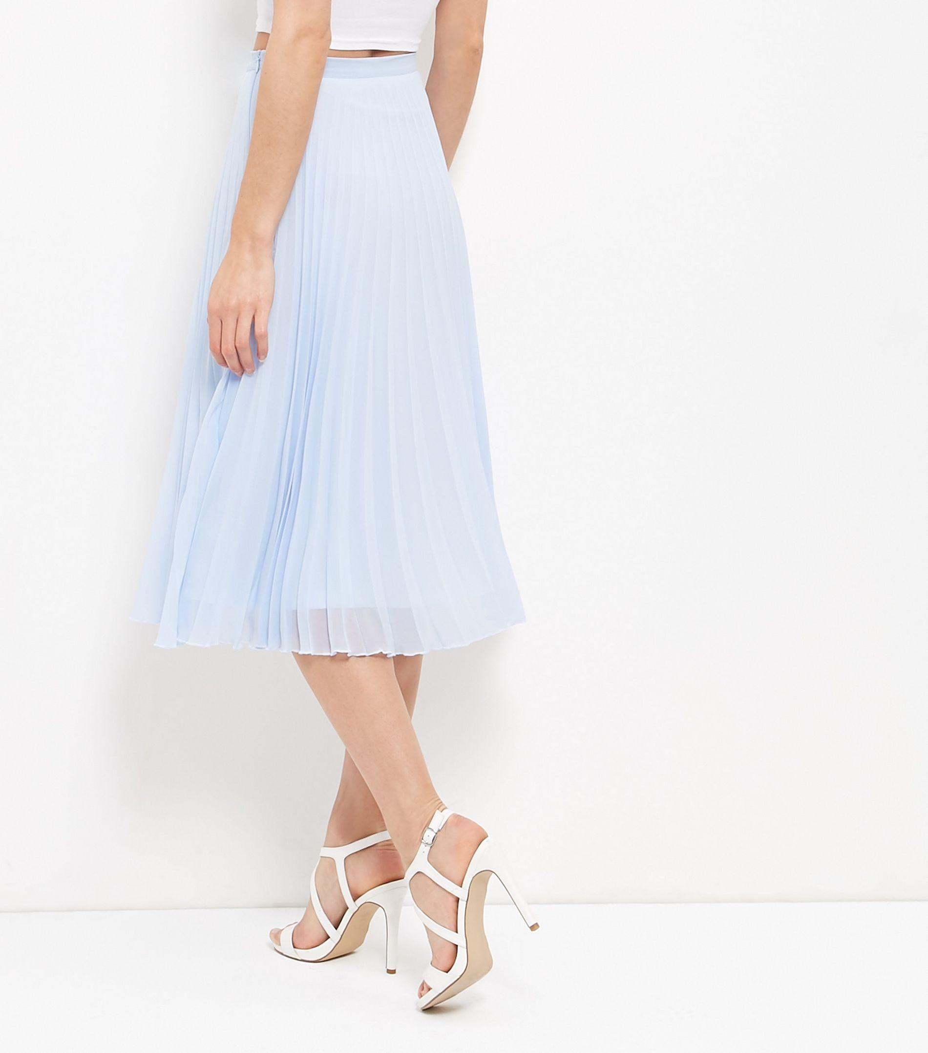 9996215263 New Look Pale Blue Chiffon Pleated Midi Skirt in Blue - Lyst