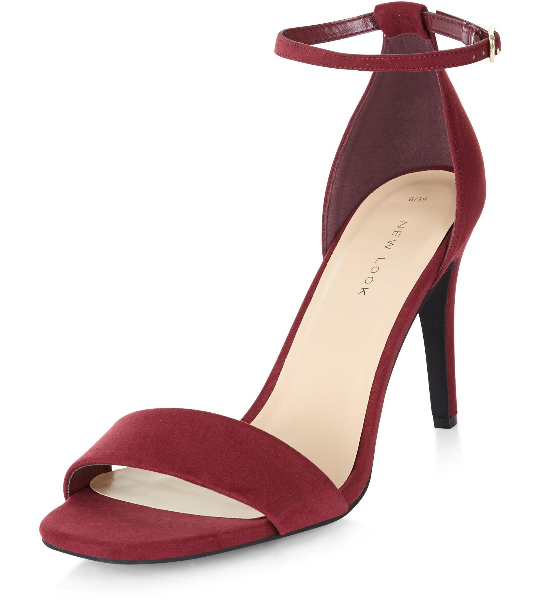 5e036ae5d2d New Look Dark Red Suedette Ankle Strap Heeled Sandals in Red - Lyst