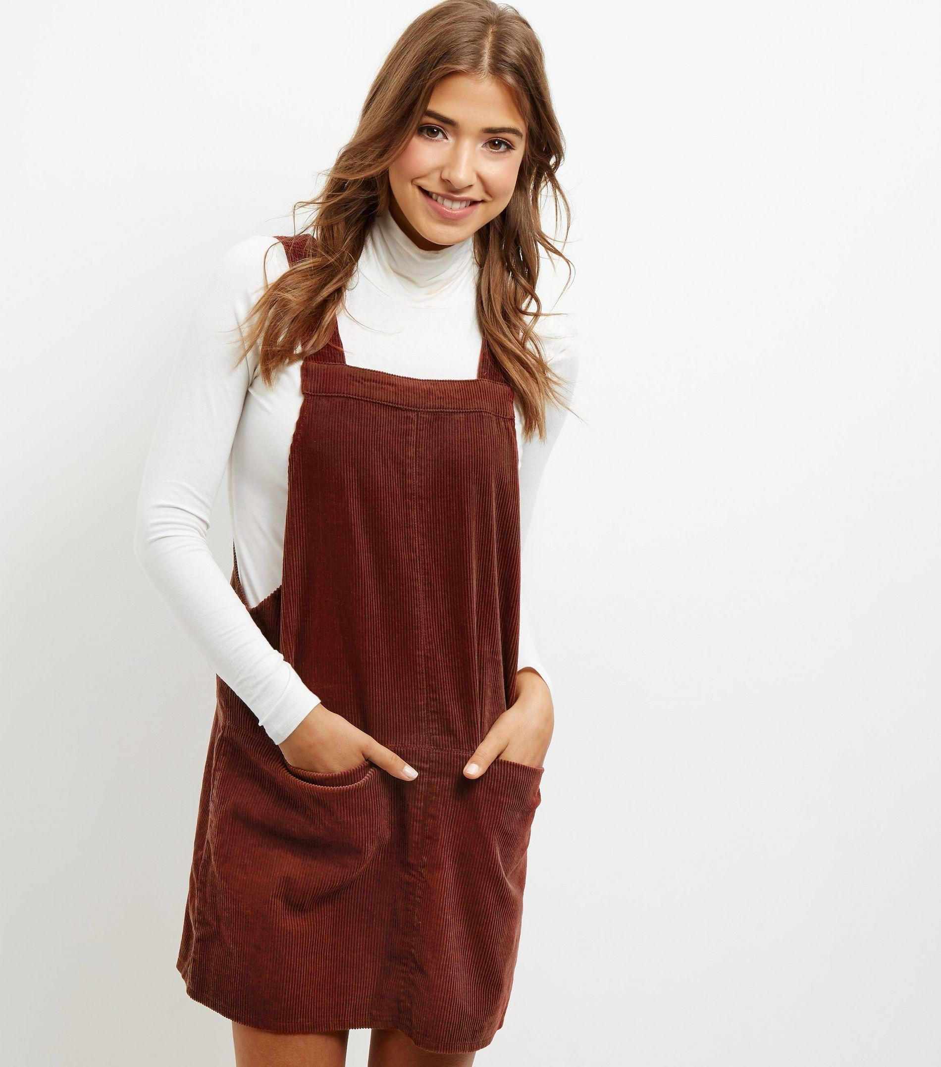 hot products on feet shots of online store New Look Brown Cord Dungaree Pinafore Dress