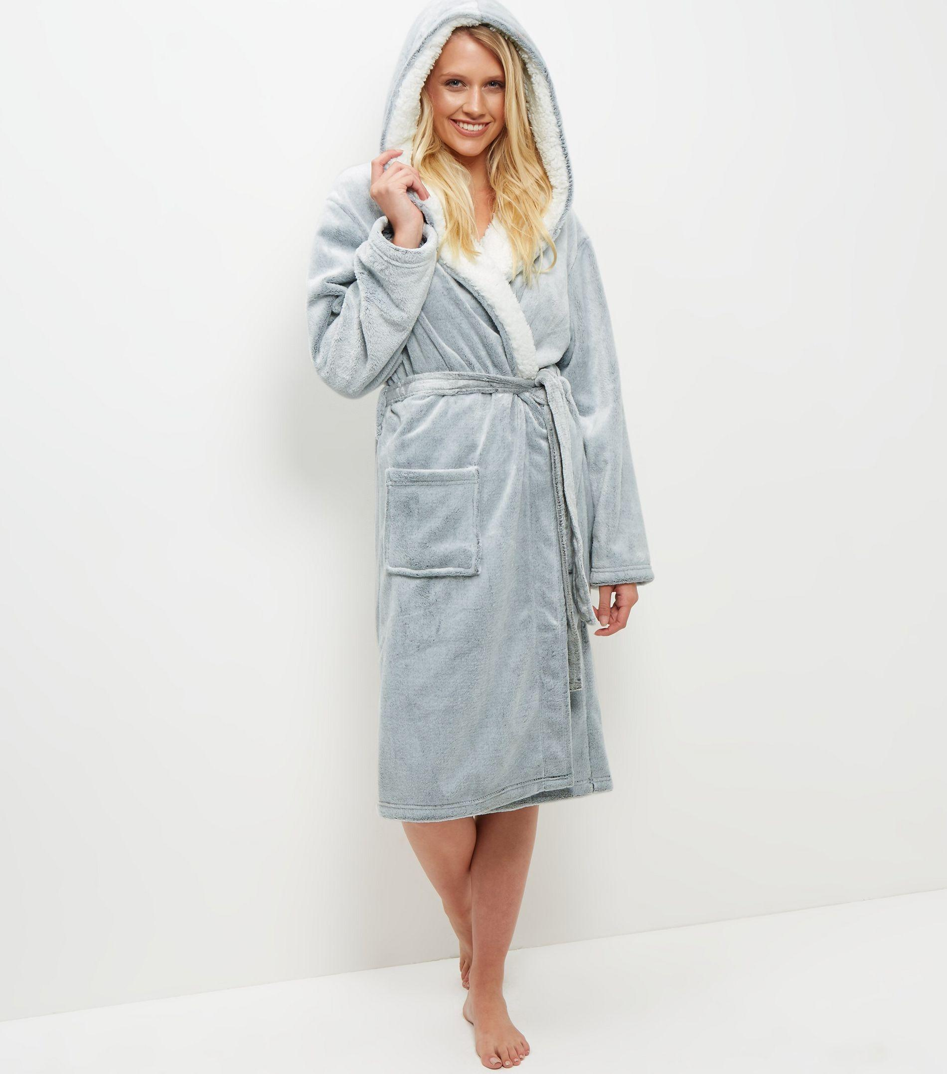 Lyst - New Look Pale Grey Borg Lined Hooded Dressing Gown in Gray