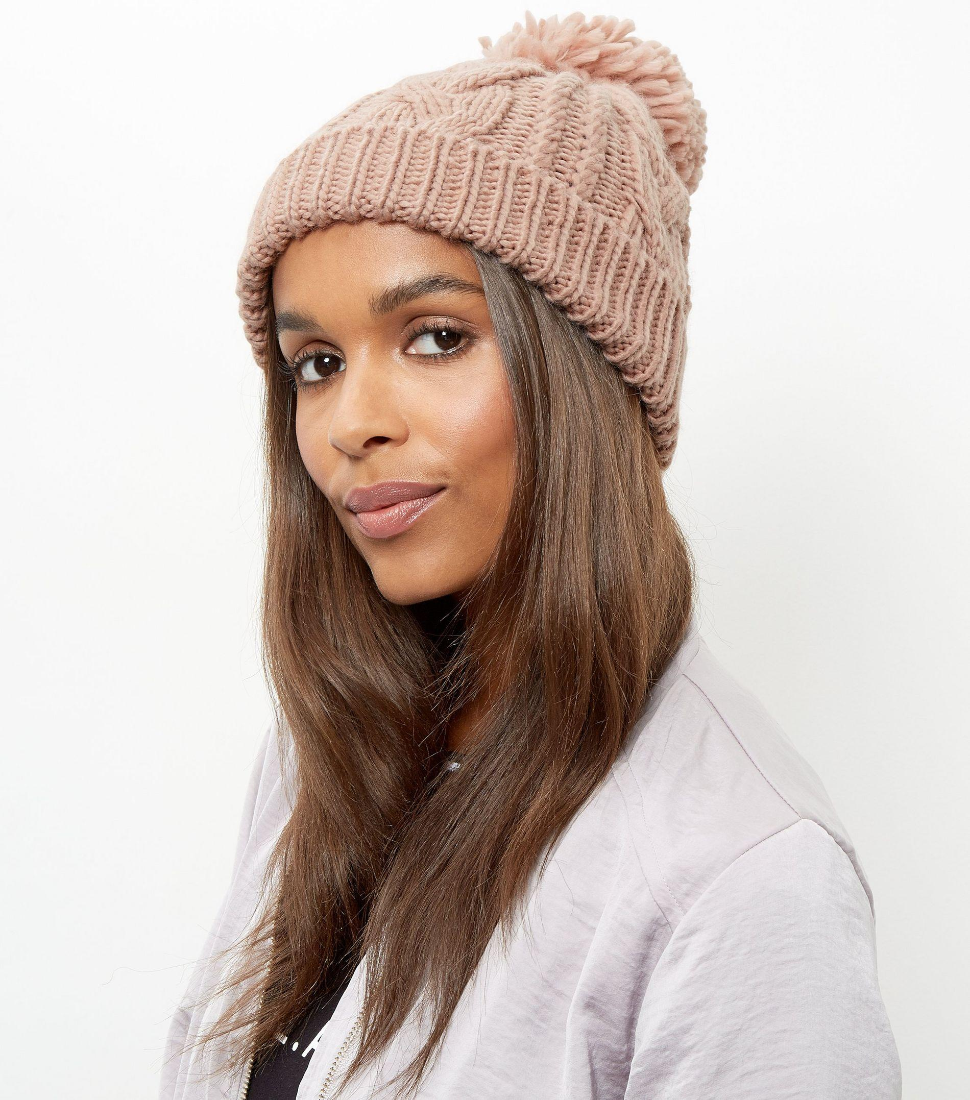 New Look Pink Cable Knit Bobble Beanie Hat in Pink - Lyst cf9eaa2b12