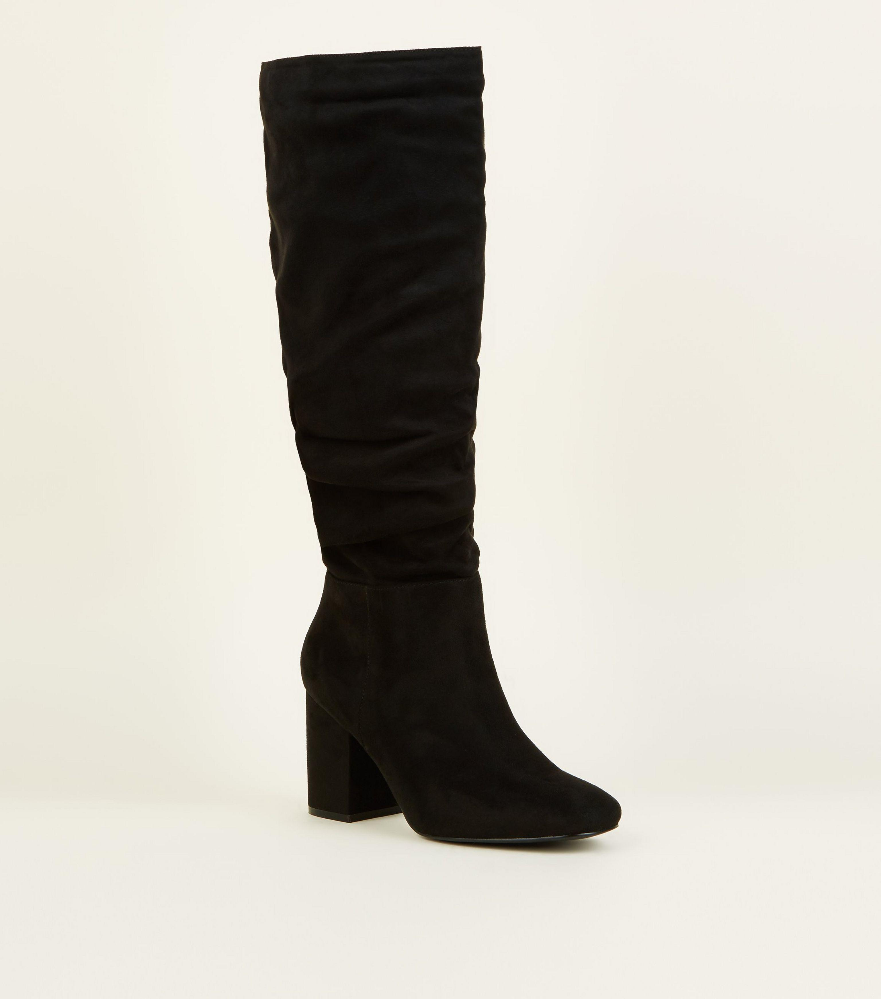 f218c9c5a539 New Look Wide Fit Black Suedette Ruched Block Heel Boots in Black - Lyst
