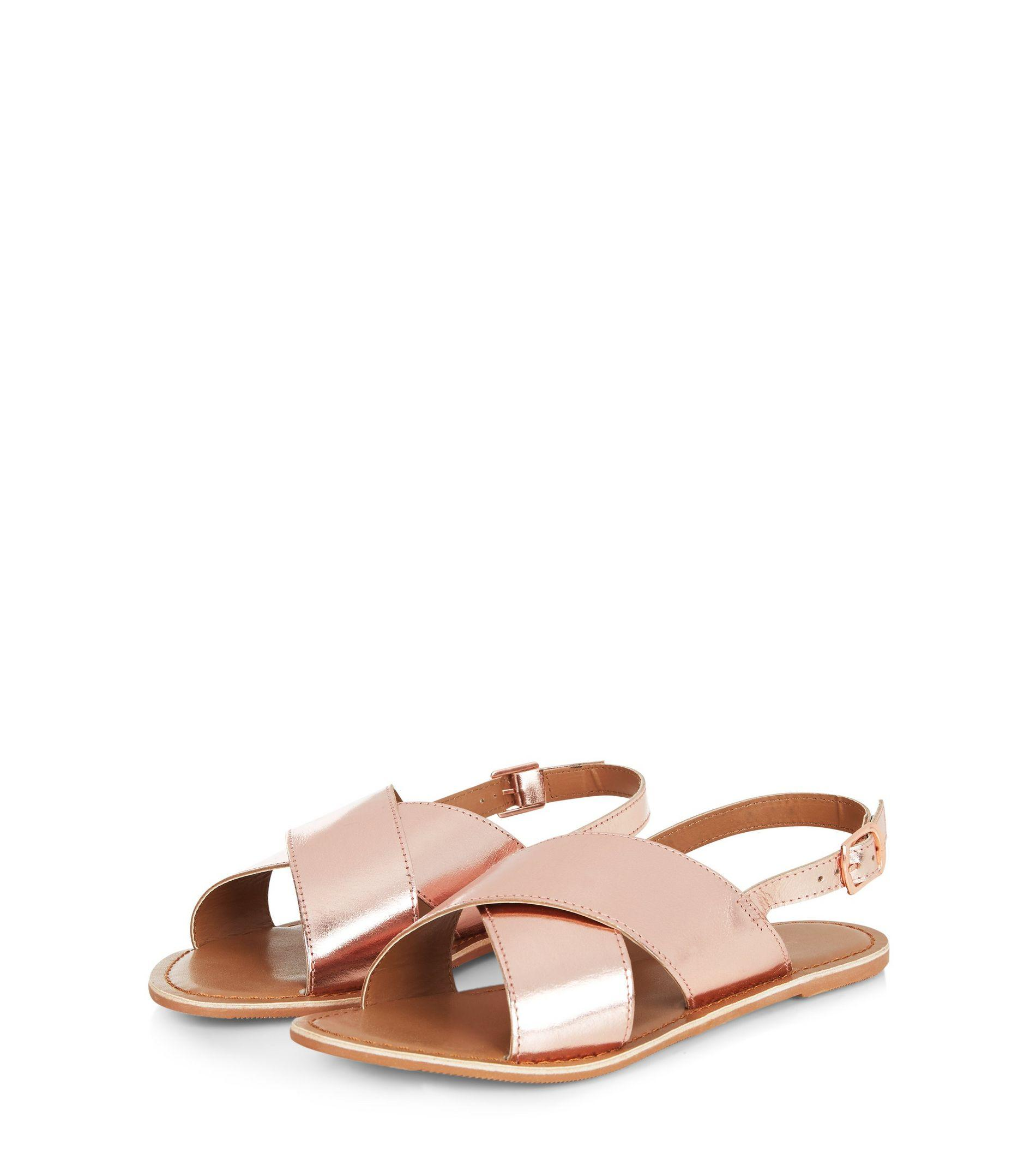 88b2130b1 New Look Rose Gold Leather Folding Cross Strap Sandals in Pink - Lyst