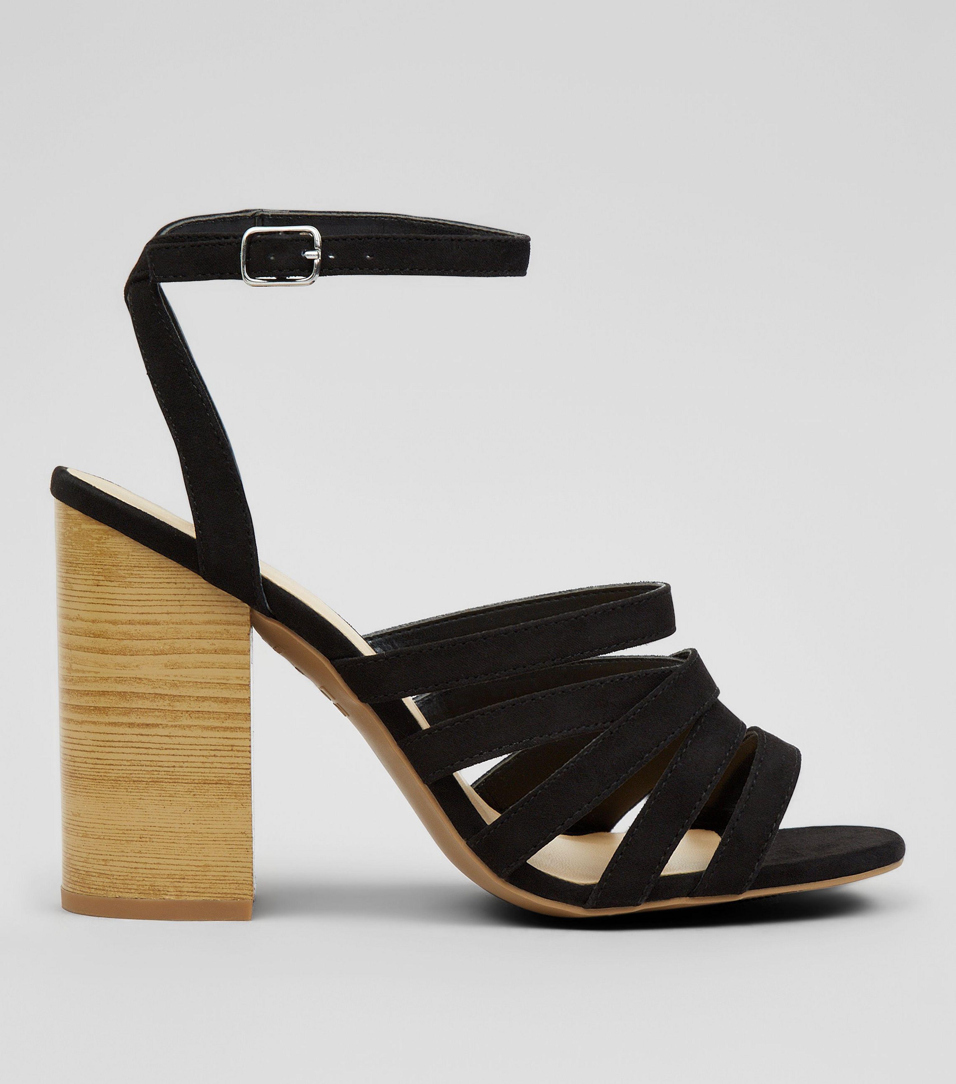 bbcdde56d45 New Look Black Multi Strap Wooden Block Heeled Sandals in Black - Lyst