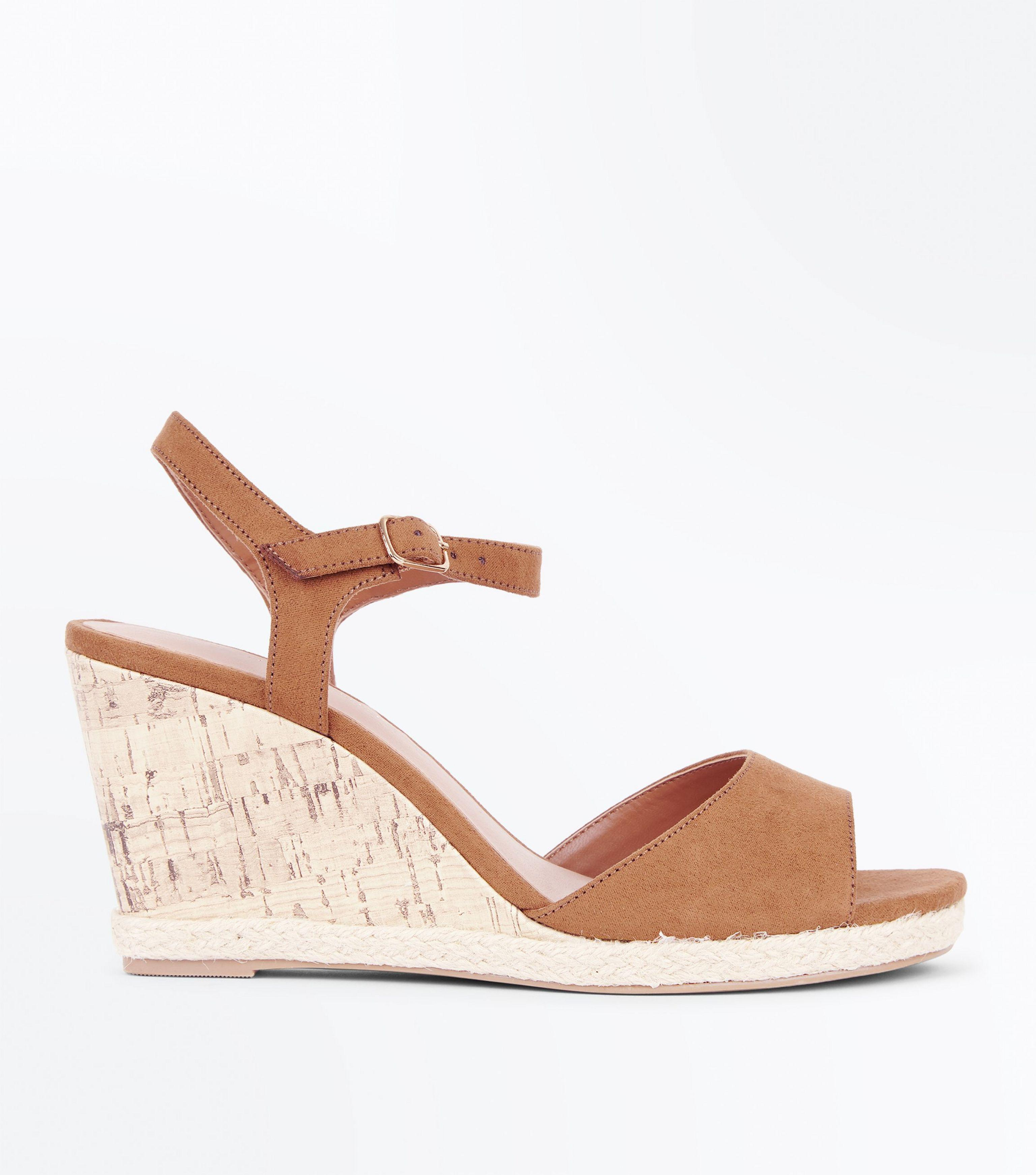 81f6d7afc0f New Look Wide Fit Tan Suedette Peep Toe Wedges in Brown - Lyst