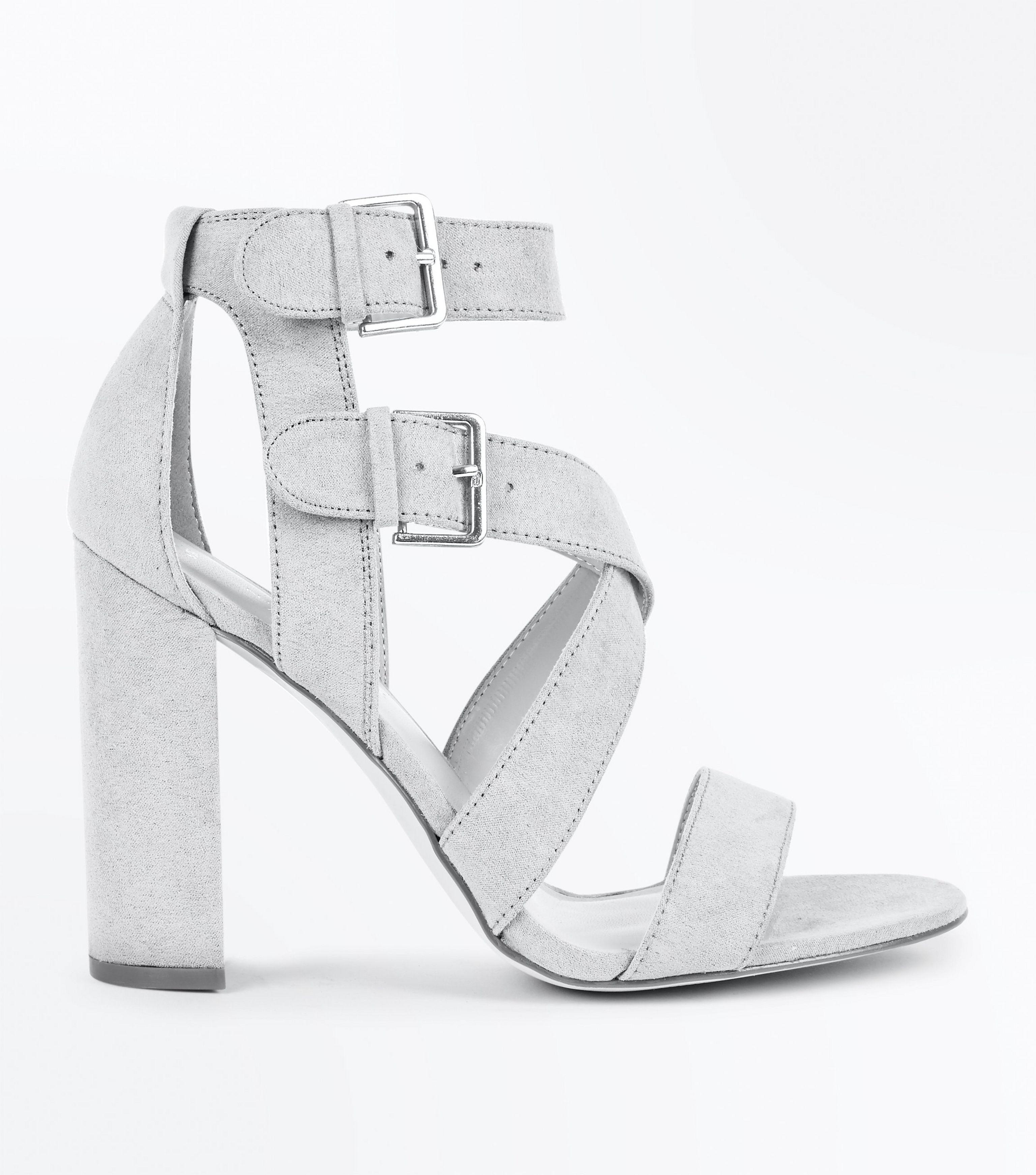 9ec91f22390 New Look Grey Suedette Strappy Double Buckle Block Heels in Gray - Lyst