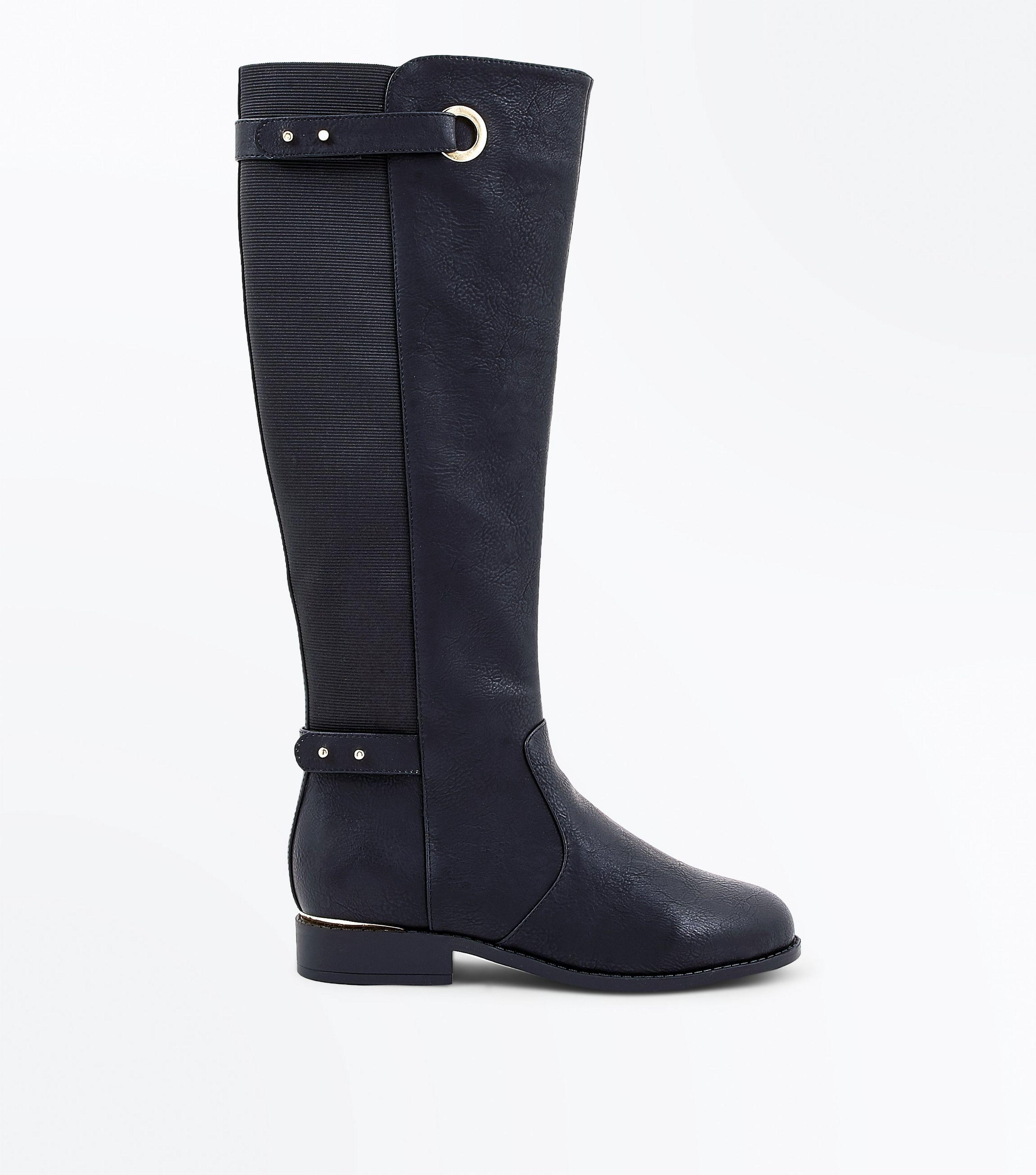 new look black eyelet elastic back knee high boots