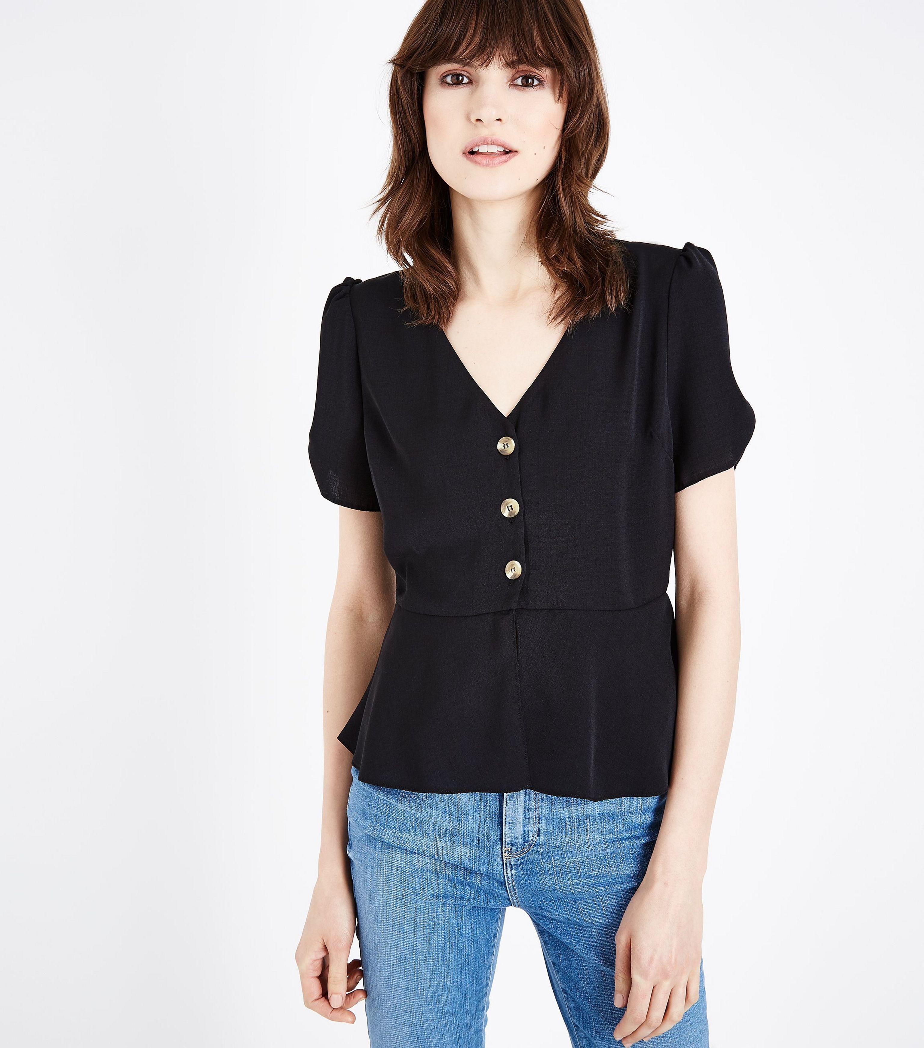 Sale Find Great Cheap Fake Womens Embroidered Foldover Button Front Shirt New Look Outlet Shop With Paypal For Sale vTezA2J
