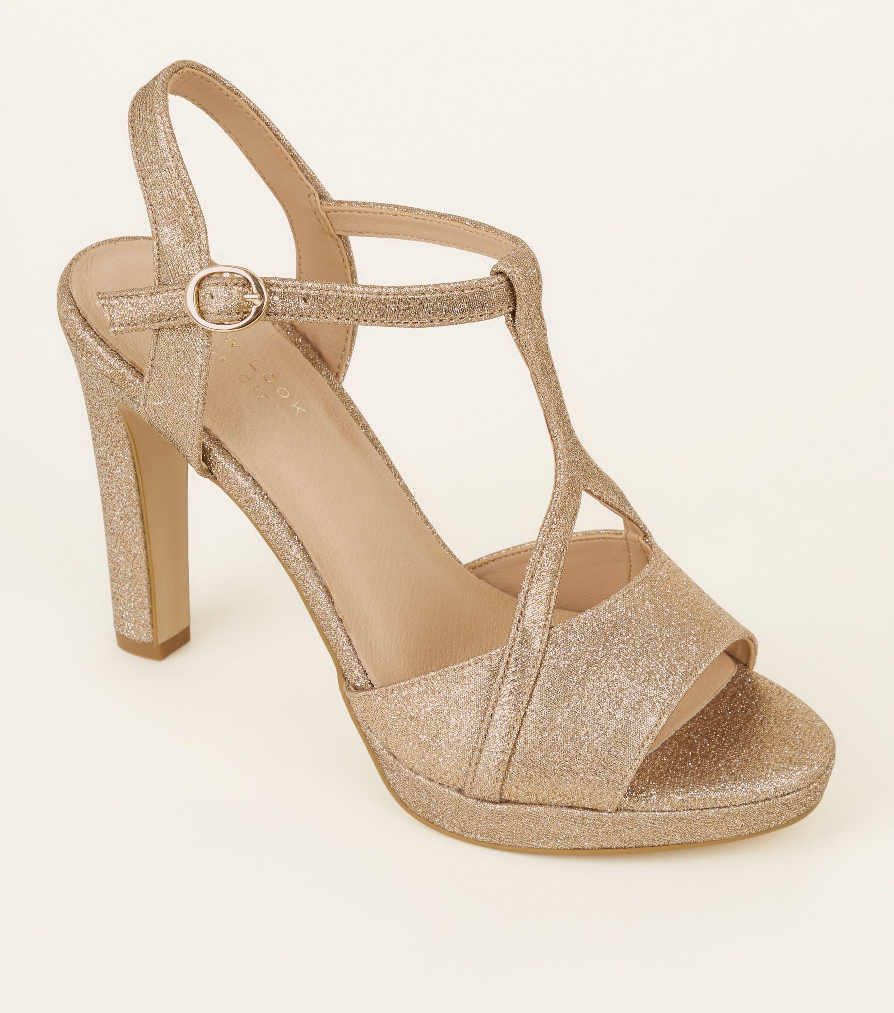 54bca545f1317b New Look Gold Glitter Comfort T-bar Platform Sandals in Metallic - Lyst