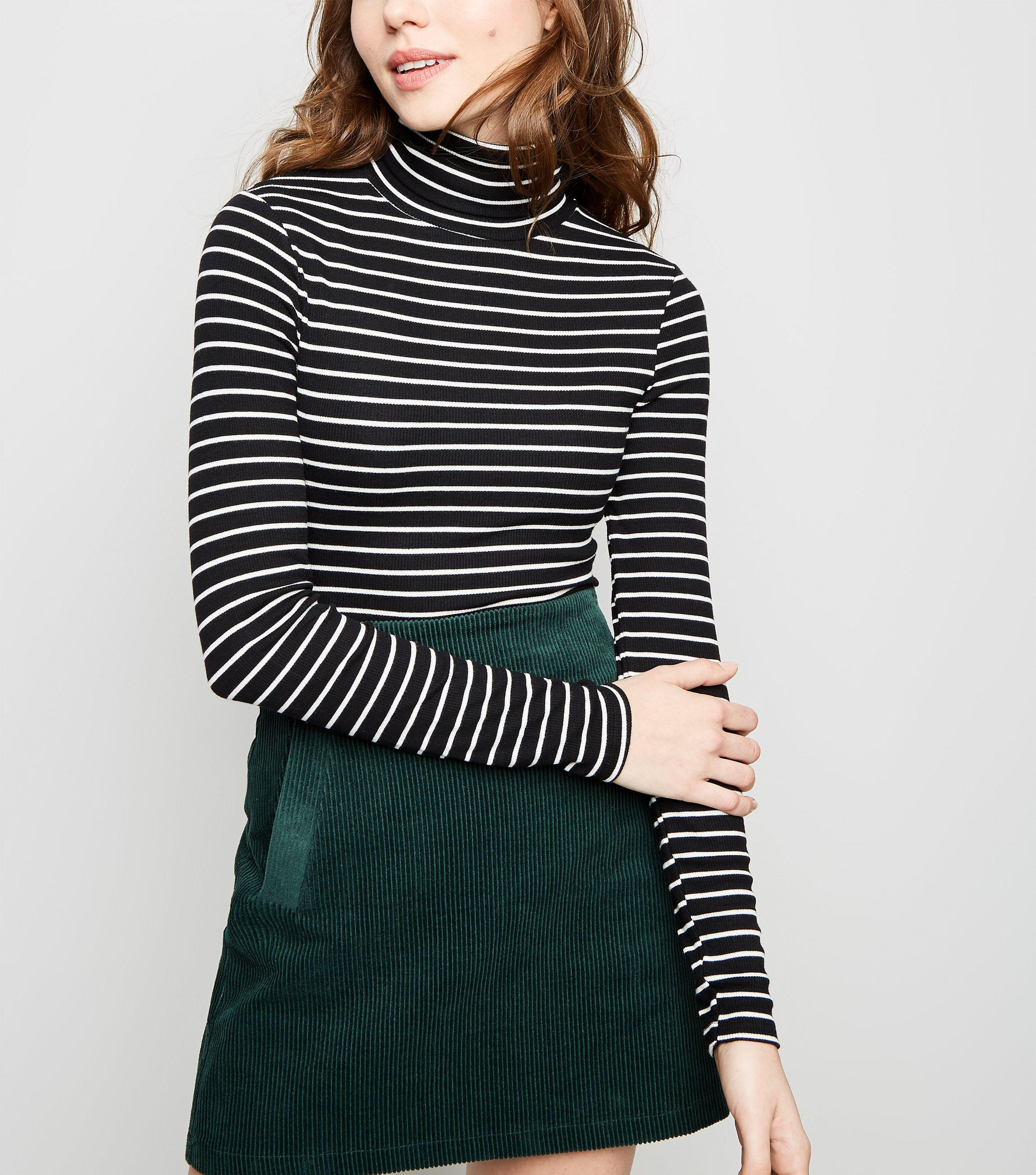 d033a4a43 New Look Black Stripe Ribbed Roll Neck Top in Black - Lyst