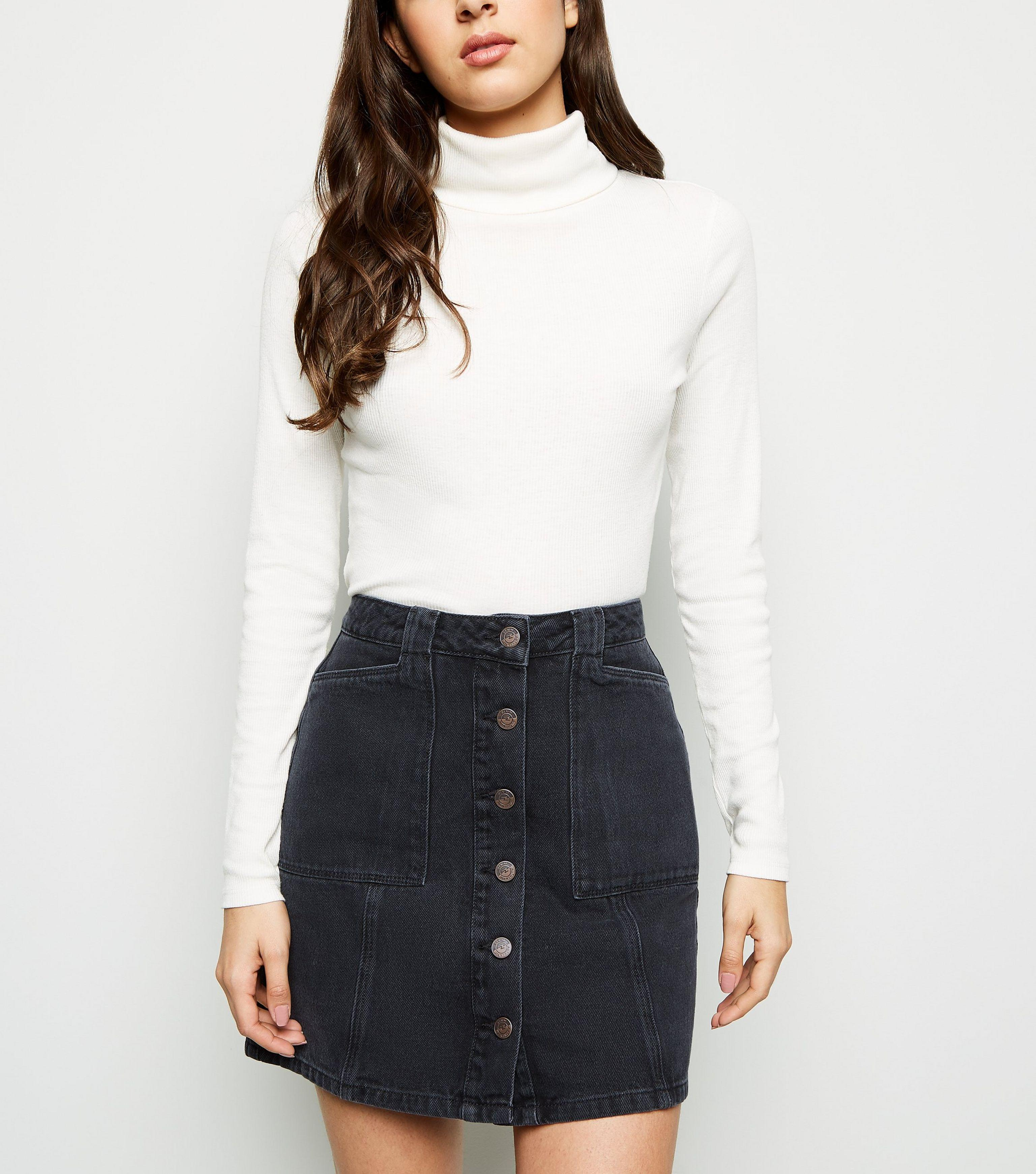 84a2a3ed51 New Look Black Patch Pocket Denim Skirt in Black - Lyst