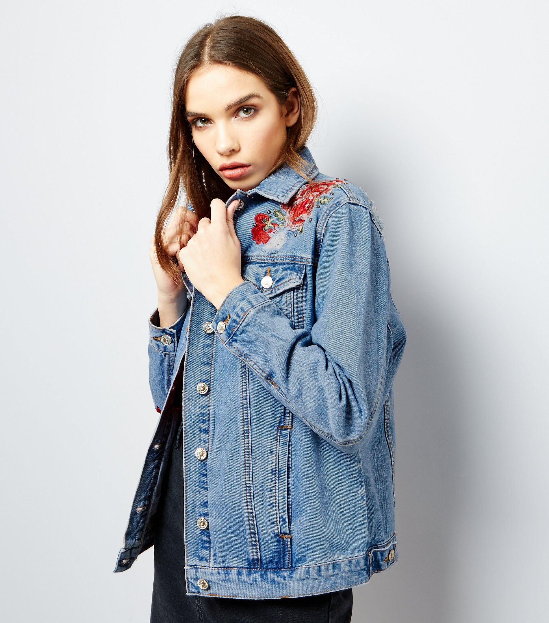 Lyst new look blue floral embroidered denim jacket in