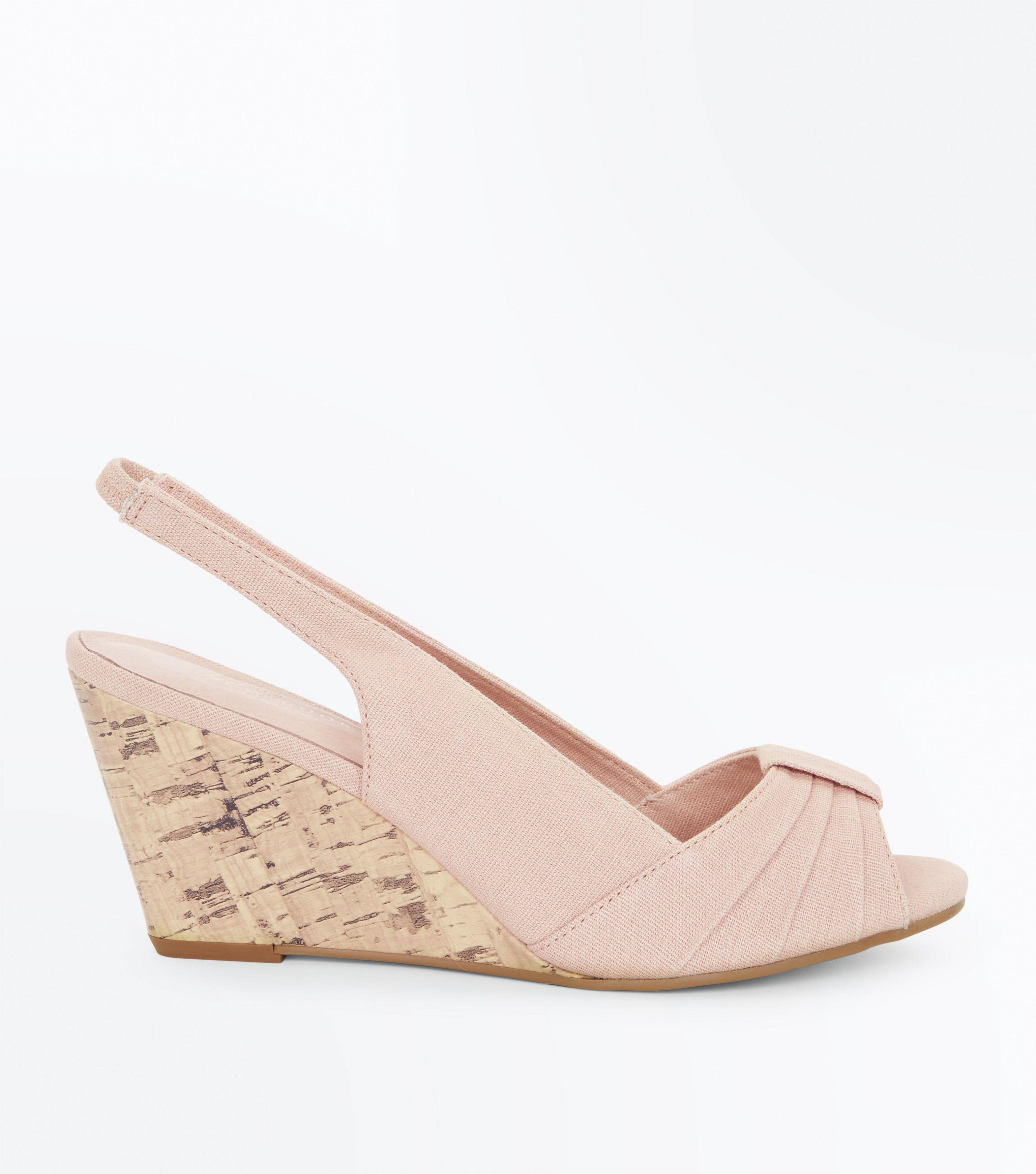 b1fa0a27415 New Look Nude Comfort Canvas Peep Toe Wedges in Natural - Lyst