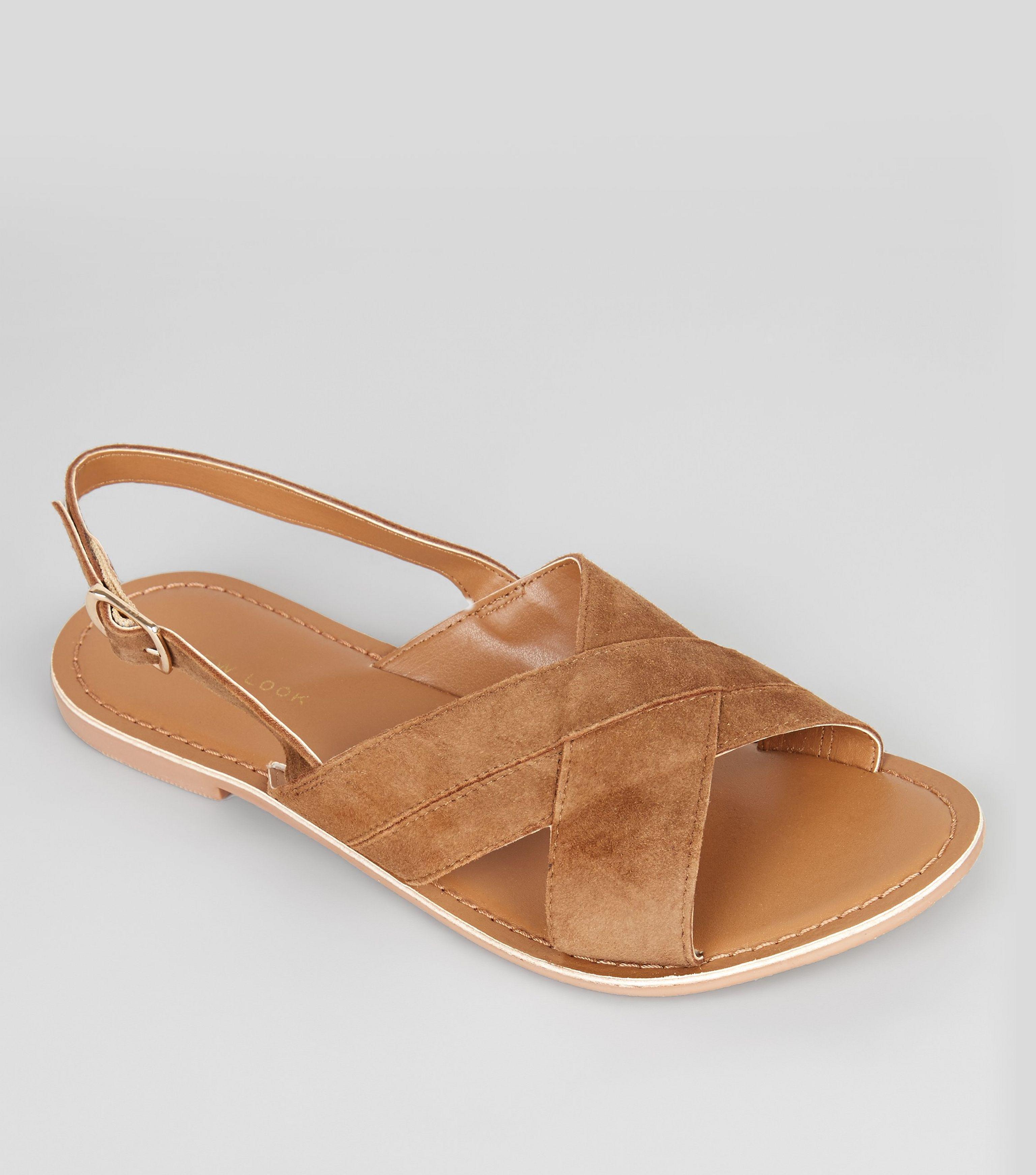 8e9e91e30c0c New Look Tan Suede Cross Strap Sandals in Brown - Lyst
