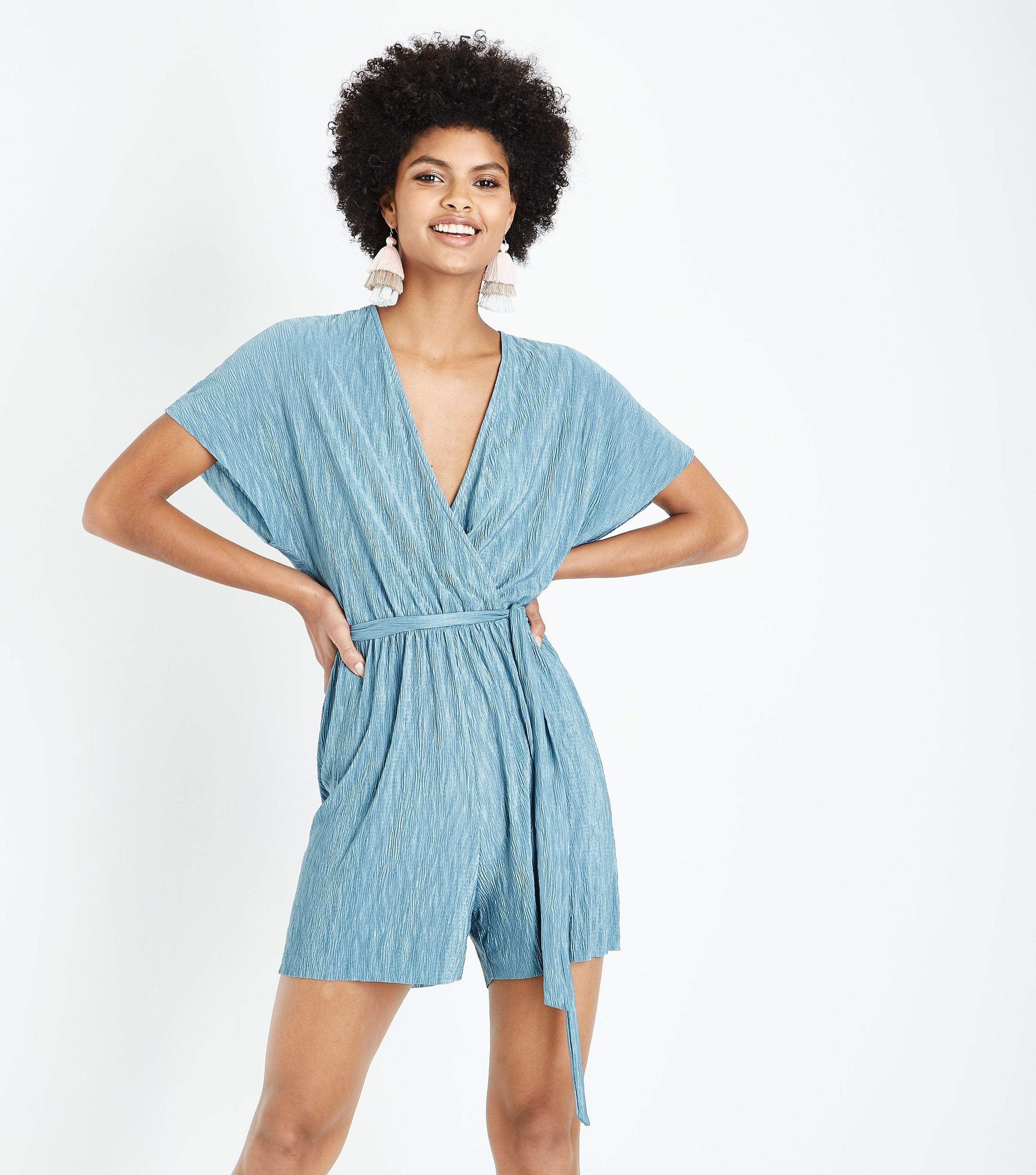 8ae2c11c7fc New Look Tall Mint Green Belted Plisse Playsuit in Blue - Lyst