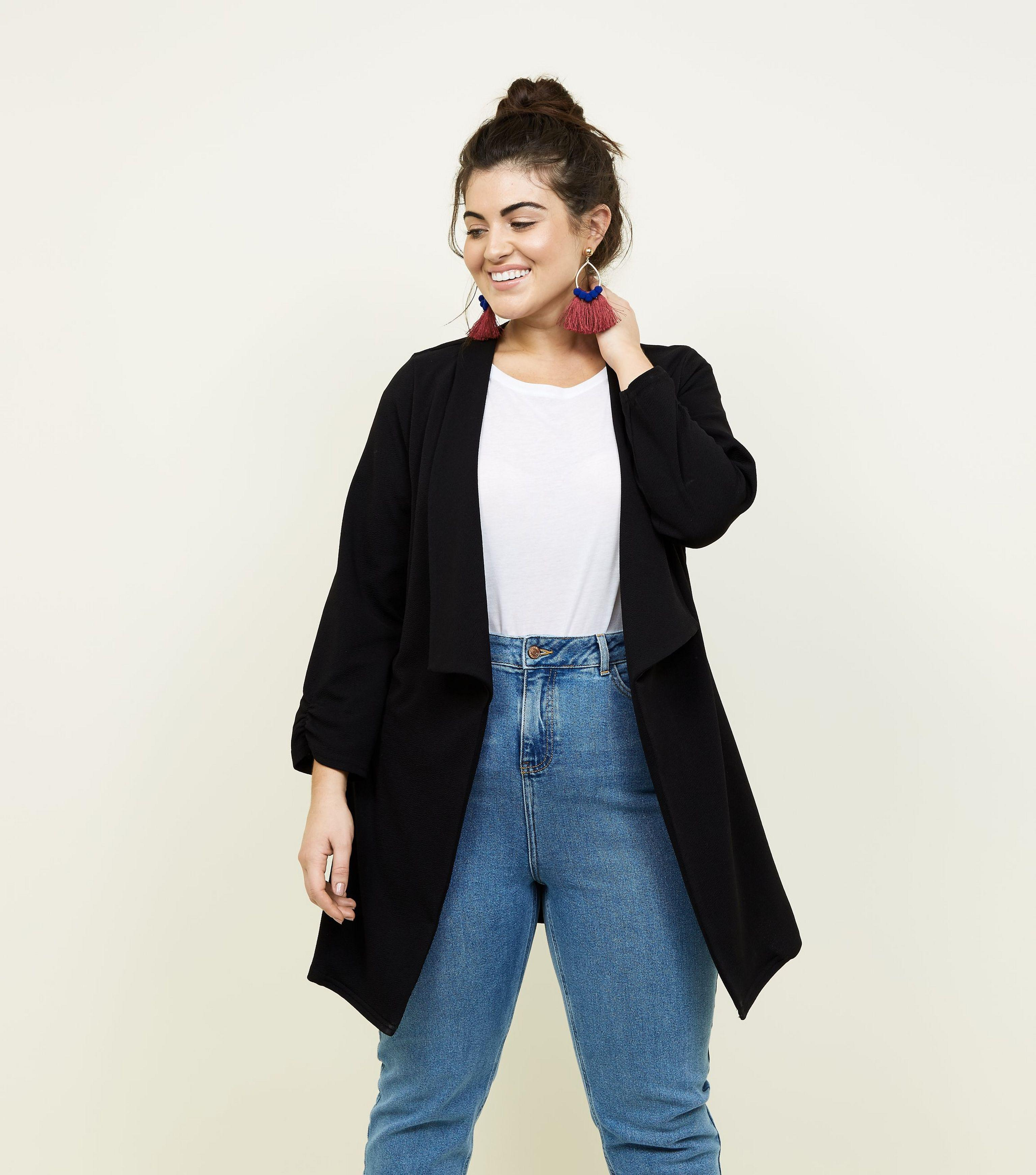 New Look Curves Longline Waterfall Blazer Clearance Purchase Clearance Fast Delivery Amazon Sale Online Affordable Sale Online 2bOSrC