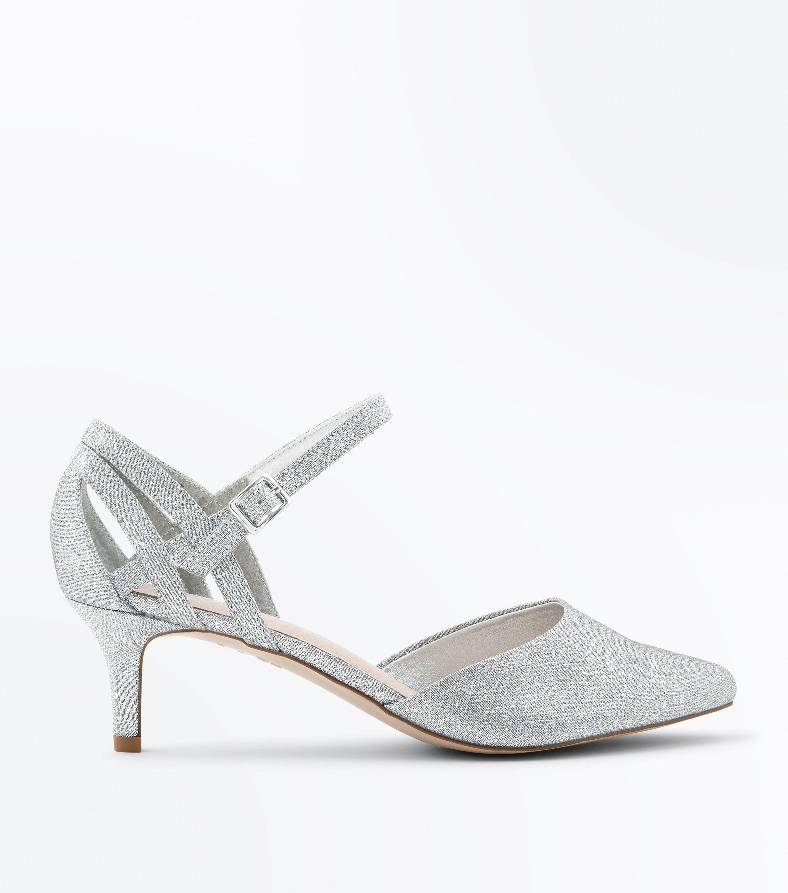 fa7d7bf3b701 New Look Wide Fit Silver Comfort Flex Shimmer Pointed Kitten Heels ...