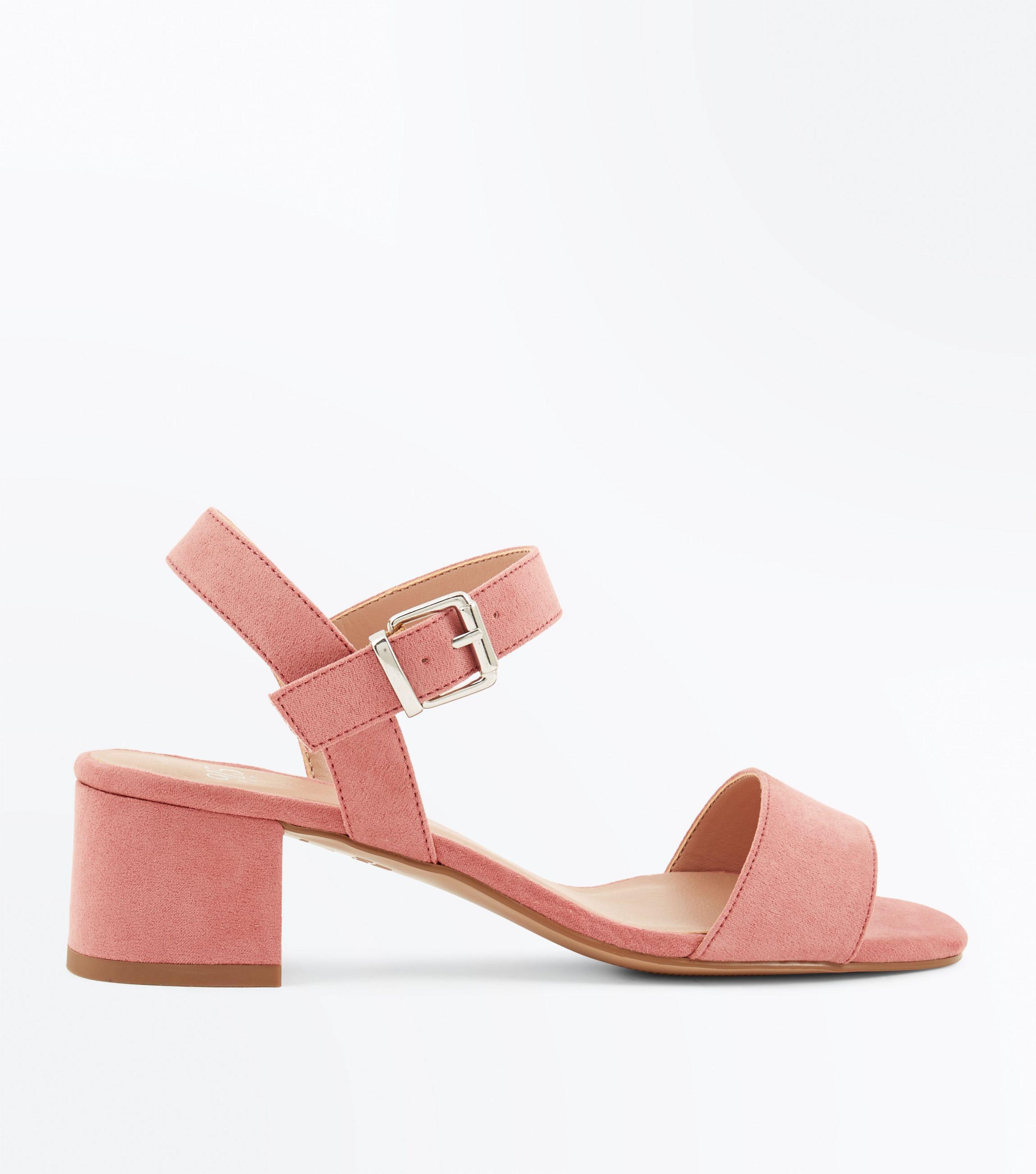 3fa2c94e83b New Look Teens Pink Suedette Block Heel Sandals in Pink - Lyst