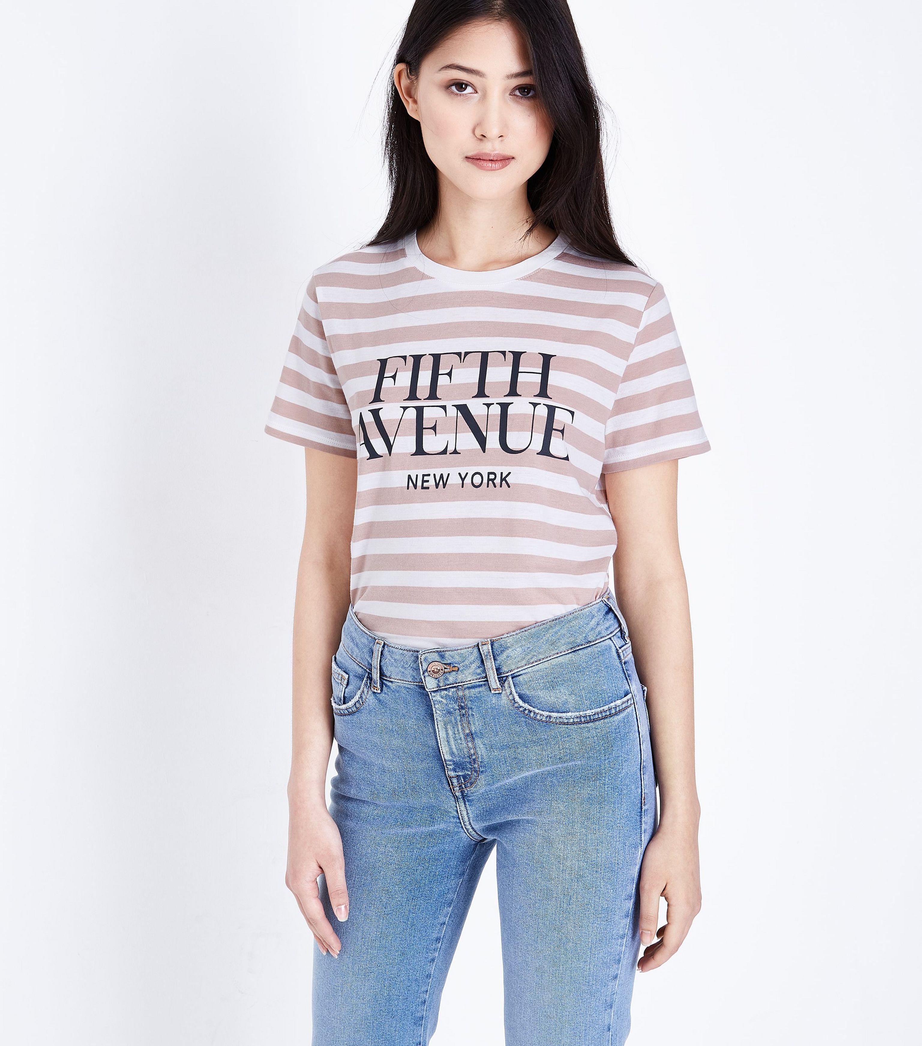 Lyst new look petite white stripe fifth avenue t shirt for Petite white tee shirt