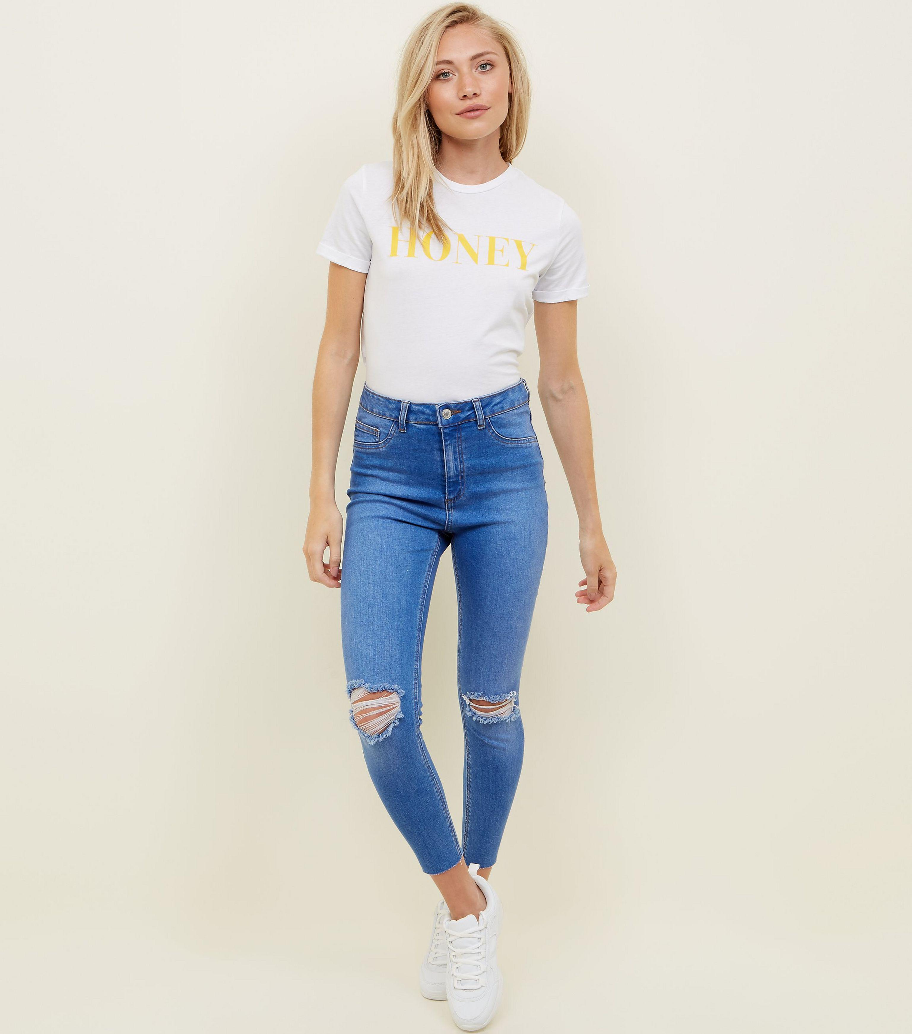 f2fe146a5513 New Look Petite Bright Blue Ripped High Waist Super Skinny Jeans in ...