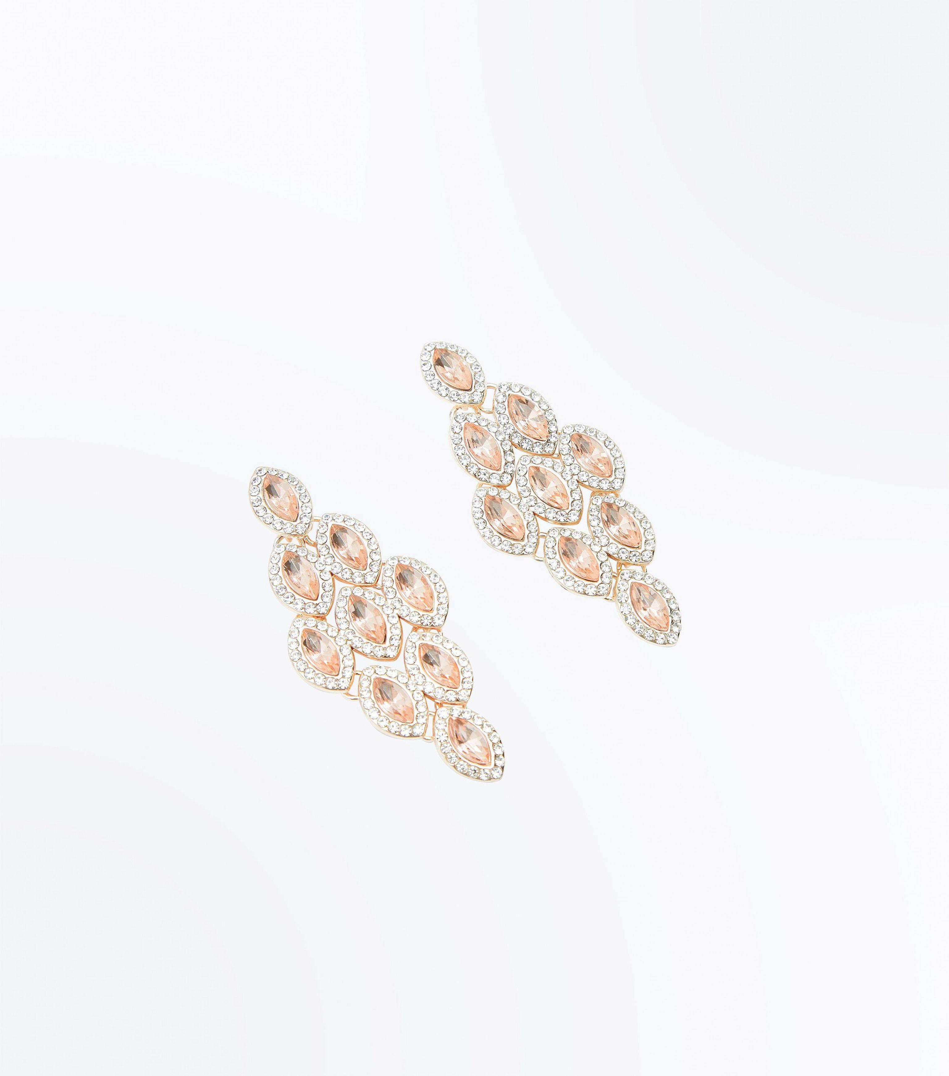 New look Rose Gold Gem Embellished Chandelier Earrings in Pink