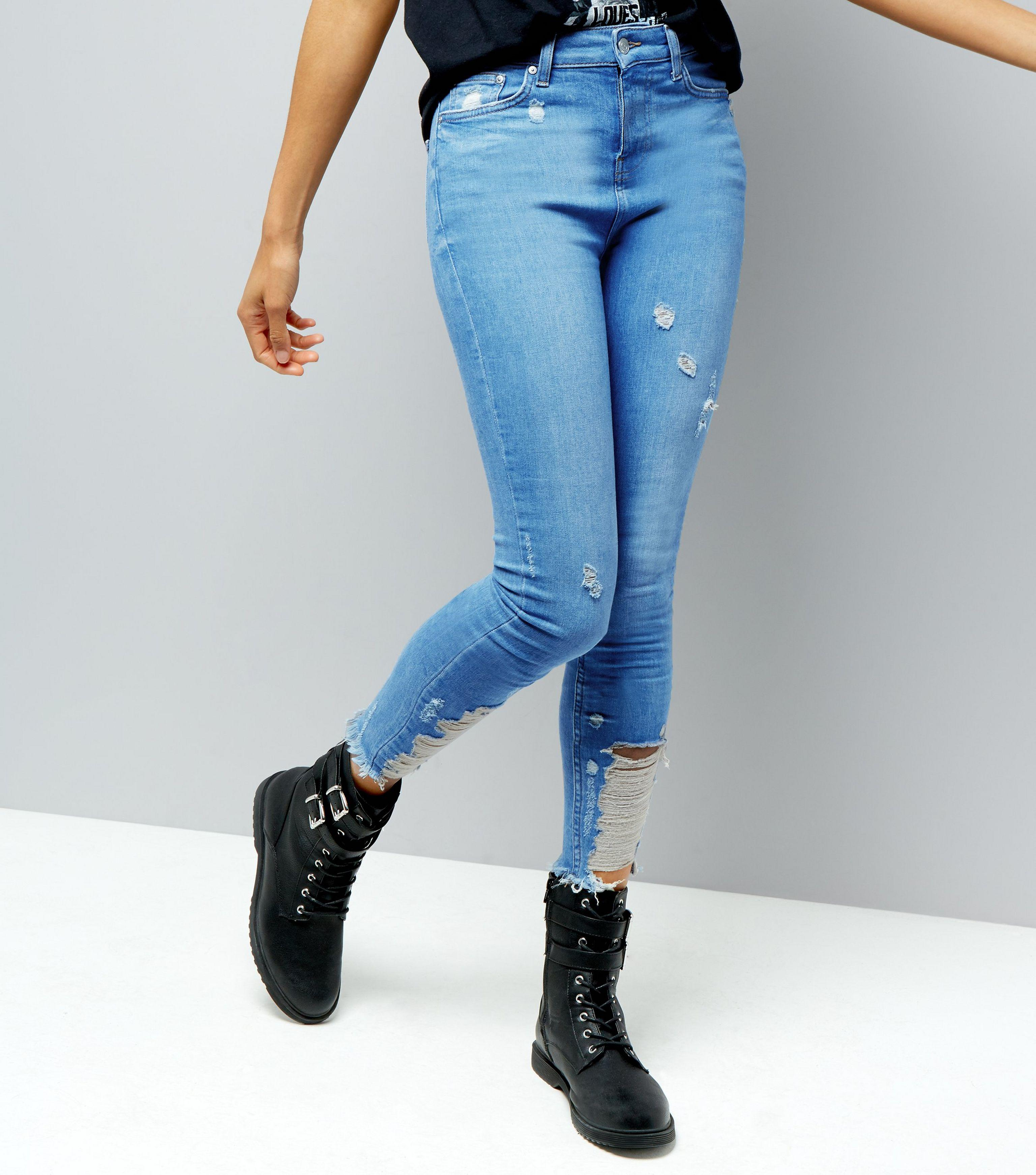 007ca802229 New Look Tall Blue Ripped Skinny Jeans in Blue - Lyst