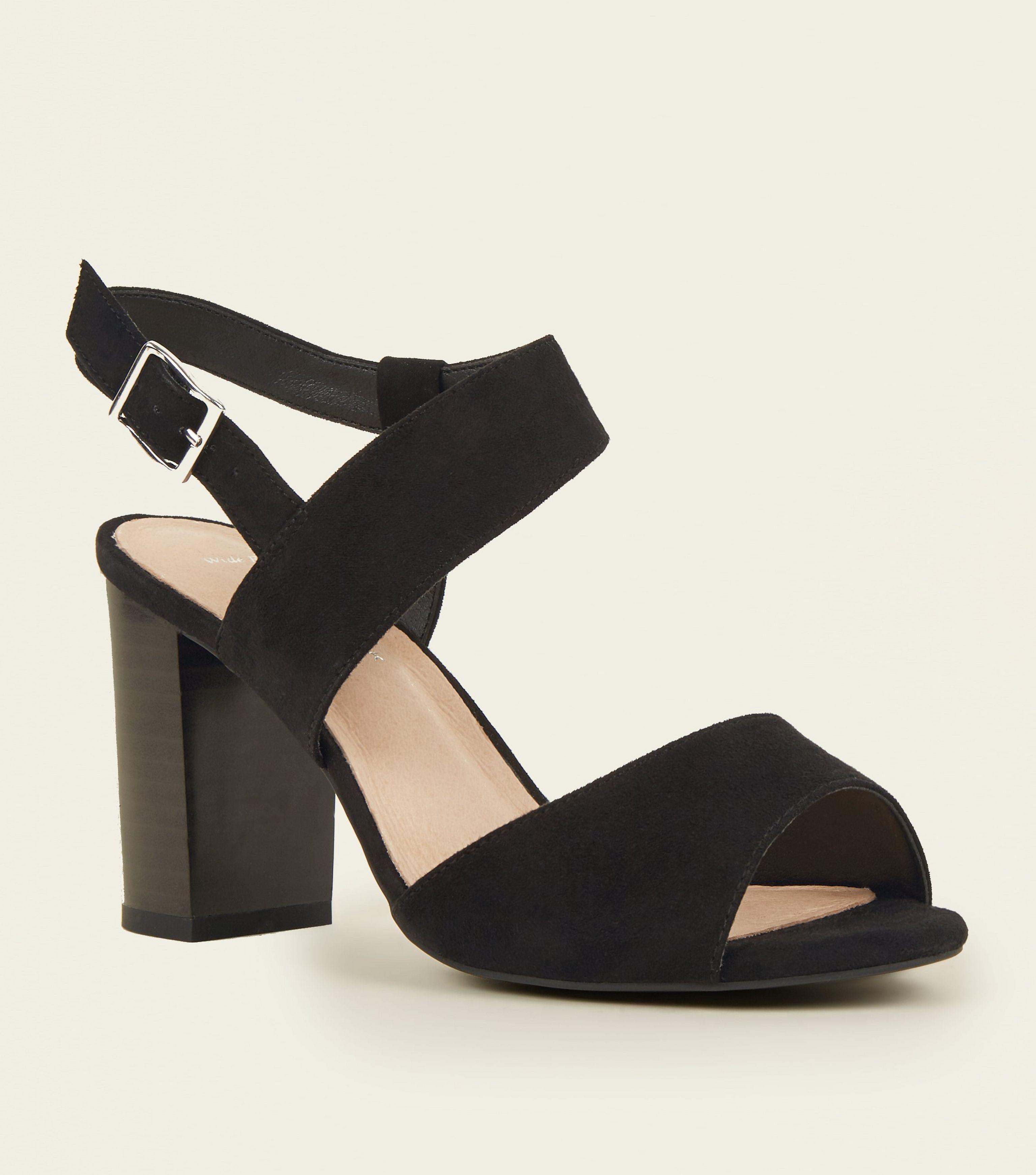25f17e60d8b New Look Wide Fit Black Comfort Flex Suedette Asymmetric Heeled ...