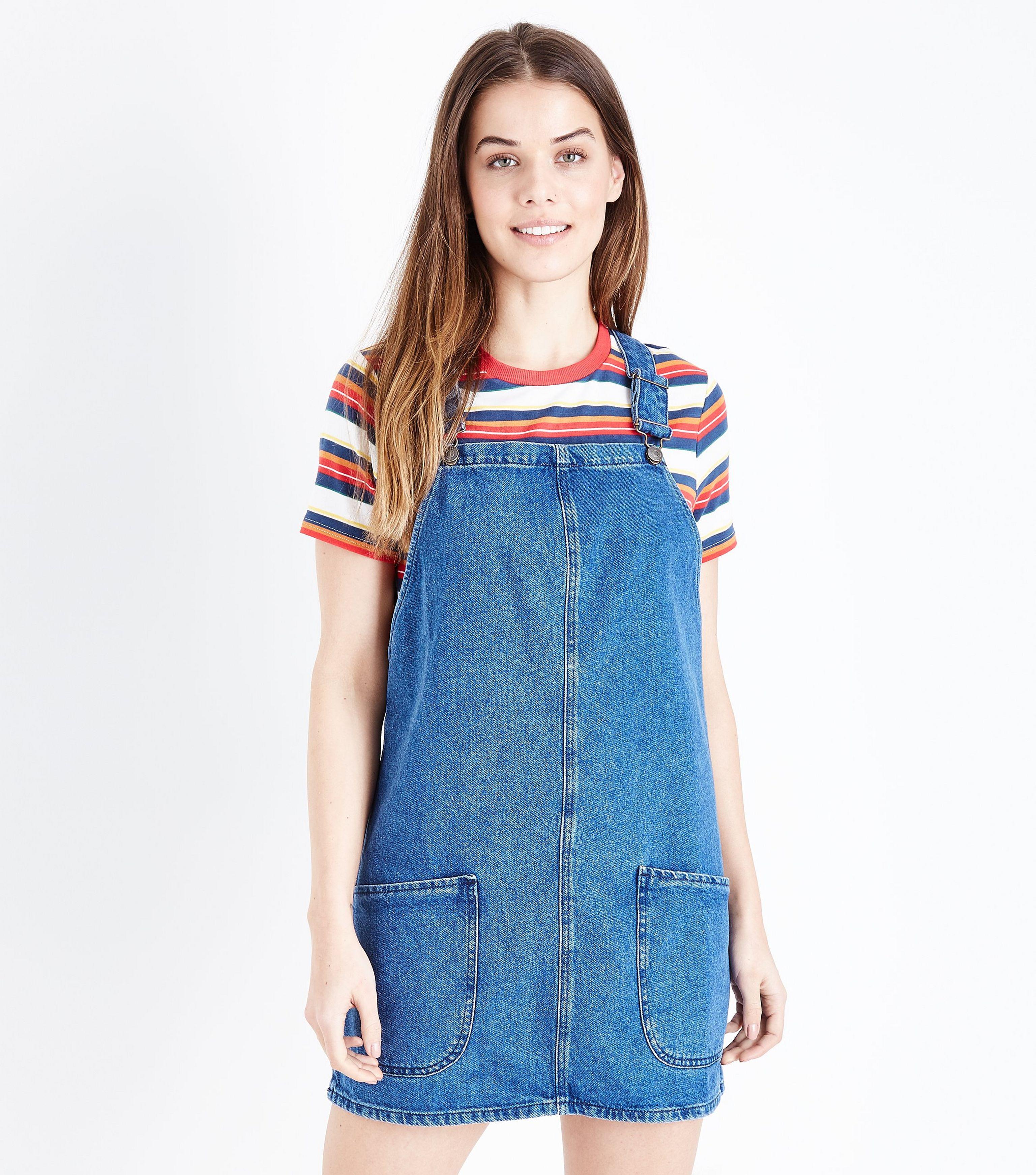 c2aa882cff New Look Blue Mid Wash Denim Pinafore Dress in Blue - Lyst